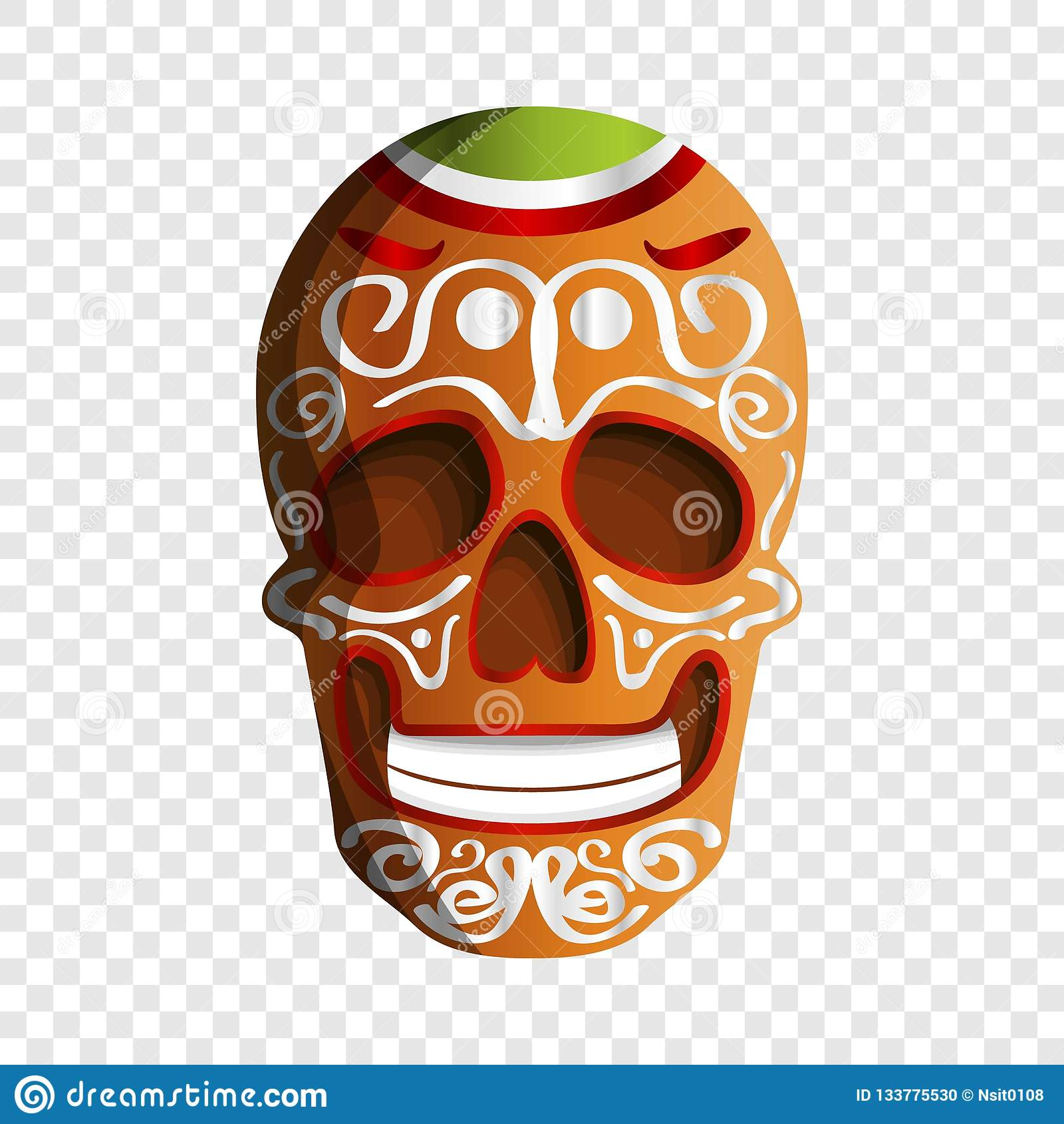 Meksykańska kolorowa czaszki ikona, kreskówka styl