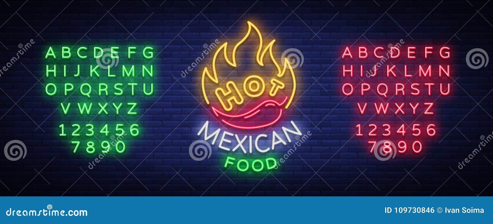 Meksykański gorący karmowy logo w neonowym stylu Neonowy znak, projekta szablon dla Meksykańskiej restauraci, kawiarnia, bar Jask