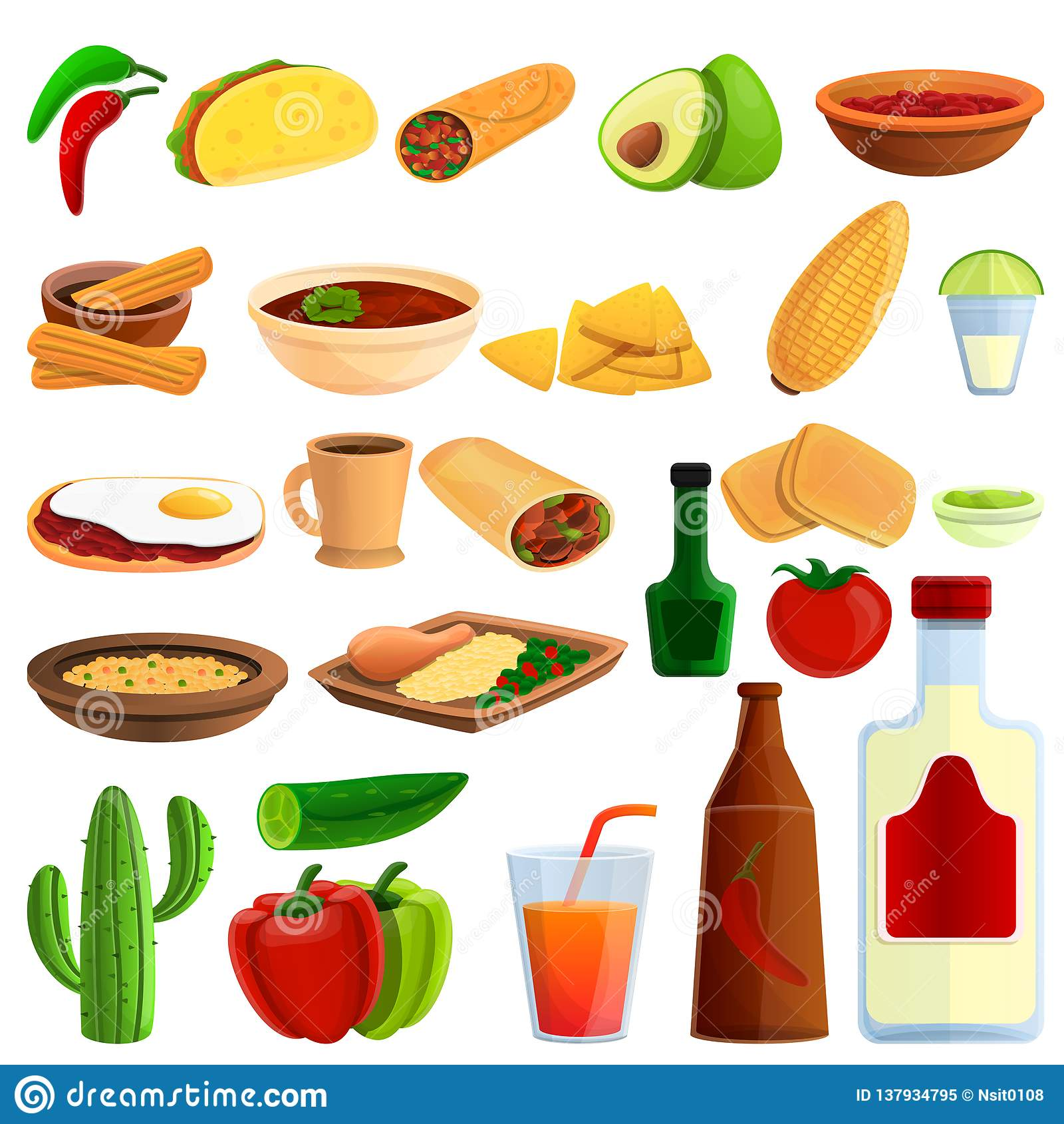 Meksykańskie karmowe ikony ustawiać, kreskówka styl