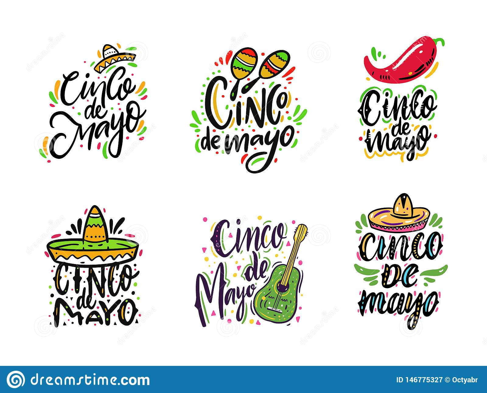 Meksyka?ski wakacyjny Cinco de Mayo R?ka rysuj?cy wektorowi literowanie setu zwroty pojedynczy bia?e t?o