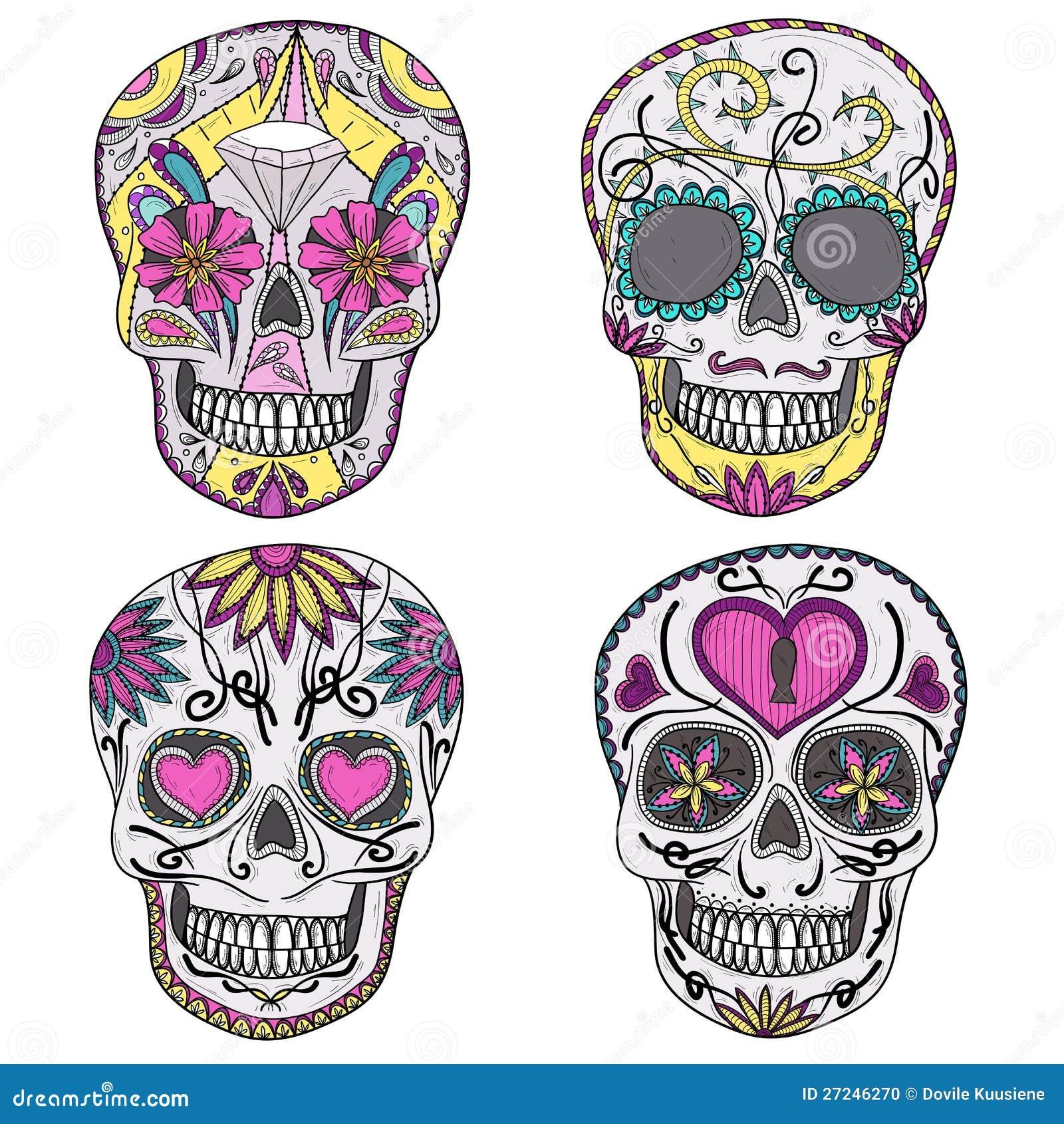 Meksykanina cukrowy czaszki set