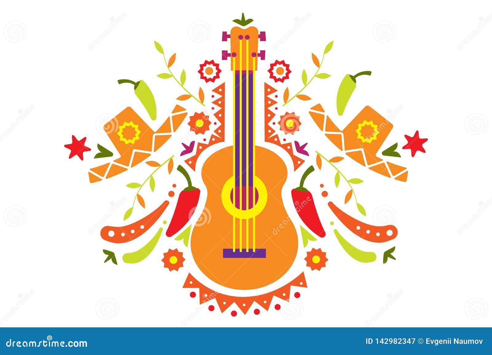 Meksykanina wzór, tradycyjni symbole Meksyk wektoru ilustracja