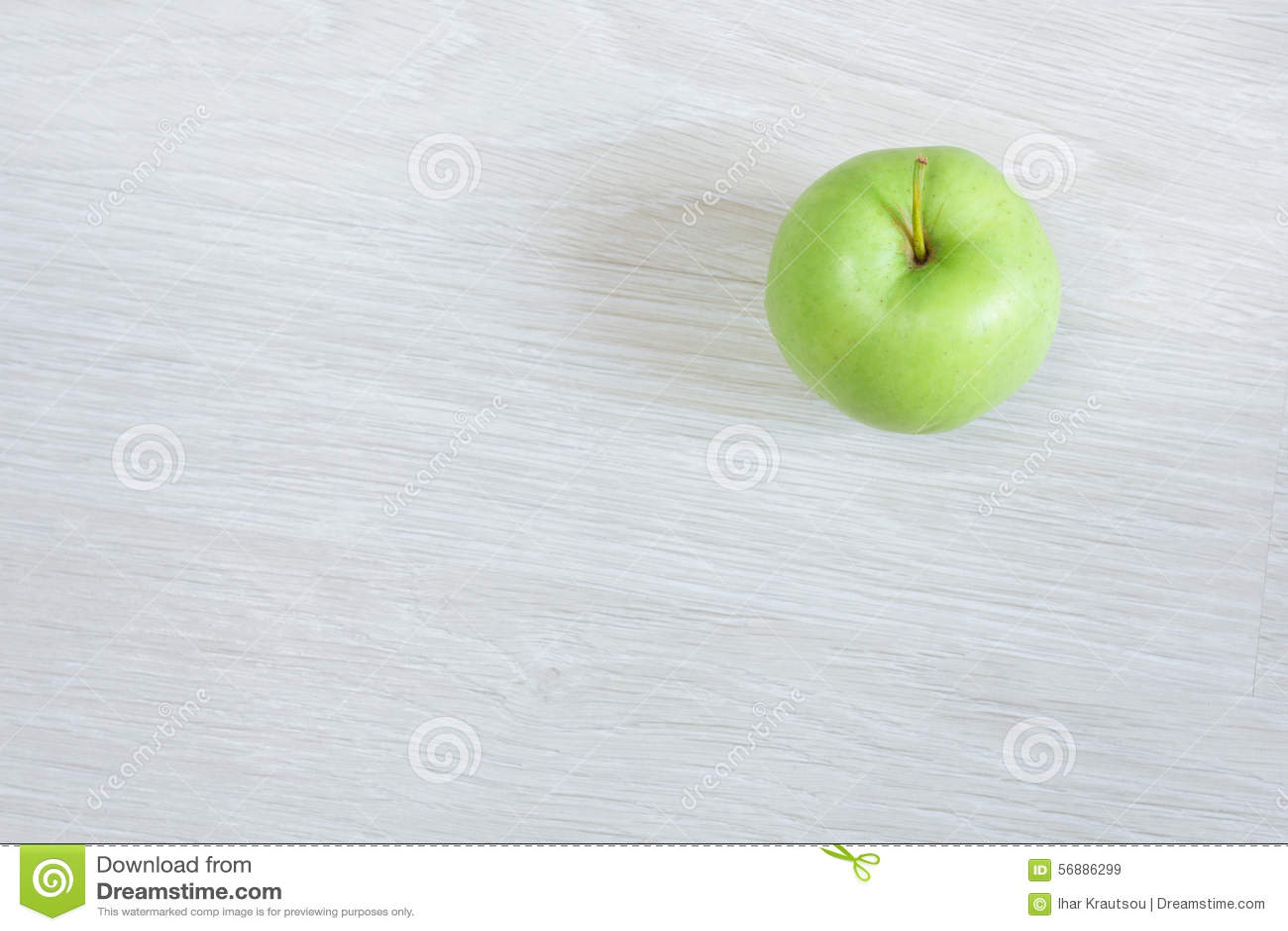 Mela verde isolata, vista superiore