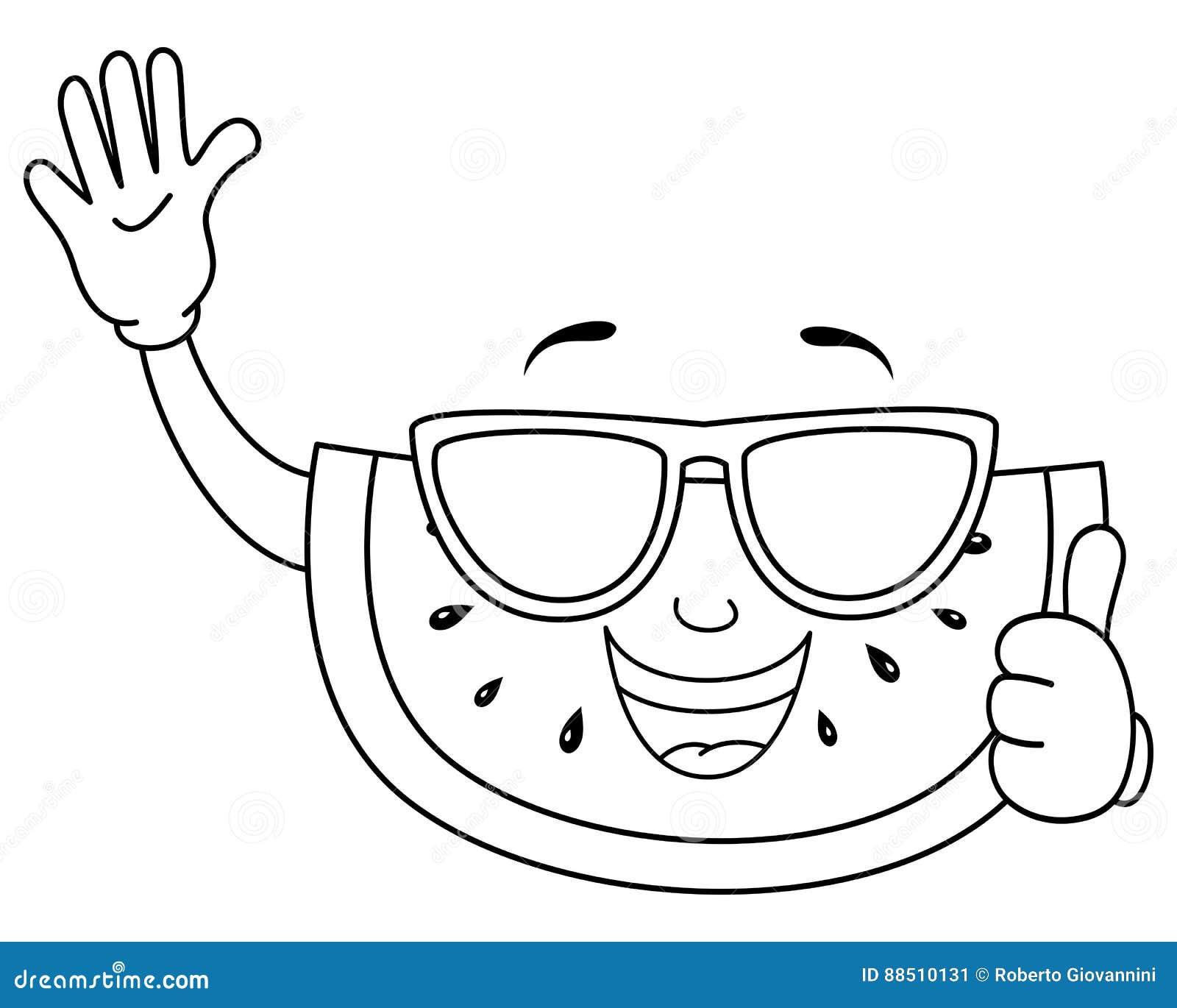 melancia bonito colorindo com óculos de sol ilustração do vetor