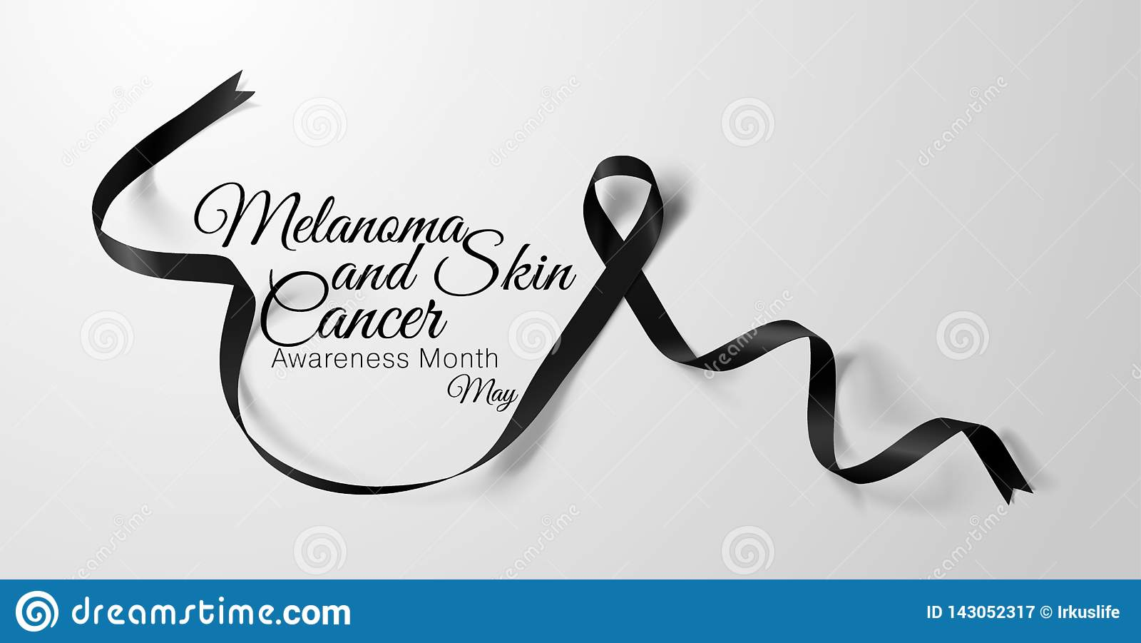 Melanoma And Skin Cancer Awareness Calligraphy Poster Design Realistic Black Ribbon May Is Cancer Awareness Month Stock Vector Illustration Of Icon Loop 143052317