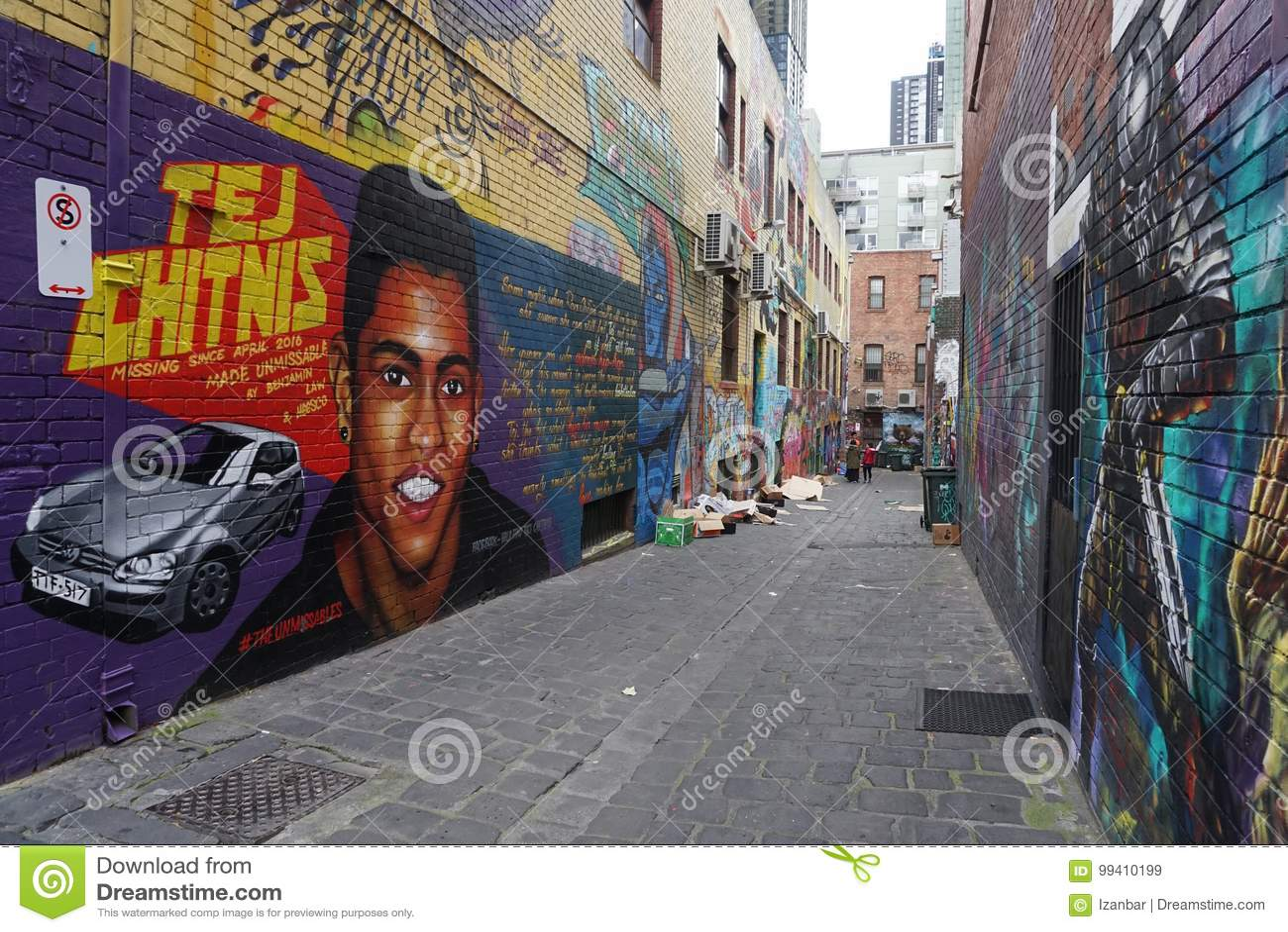 MELBOURNE, AUSTRALIË - AUGUSTUS 15 2017 - Muurschilderijengraffiti murales op stadsstraten