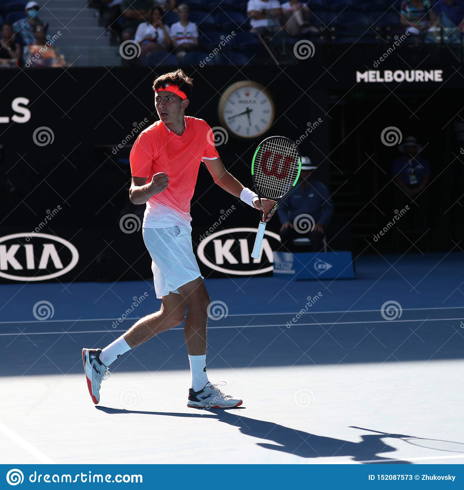 2019 Australian Open finalist Emilio Nava of United States in action during his Boys` Singles final match in Melbourne Park