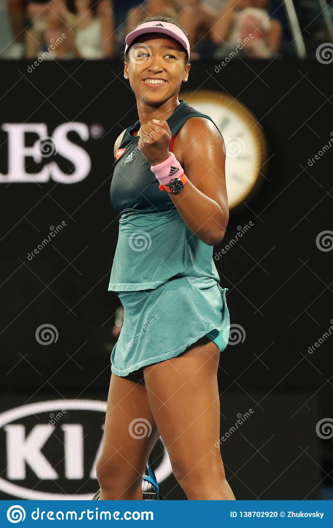 Grand Slam Champion Naomi Osaka of Japan celebrates victory after her semifinal match at 2019 Australian Open in Melbourne Park