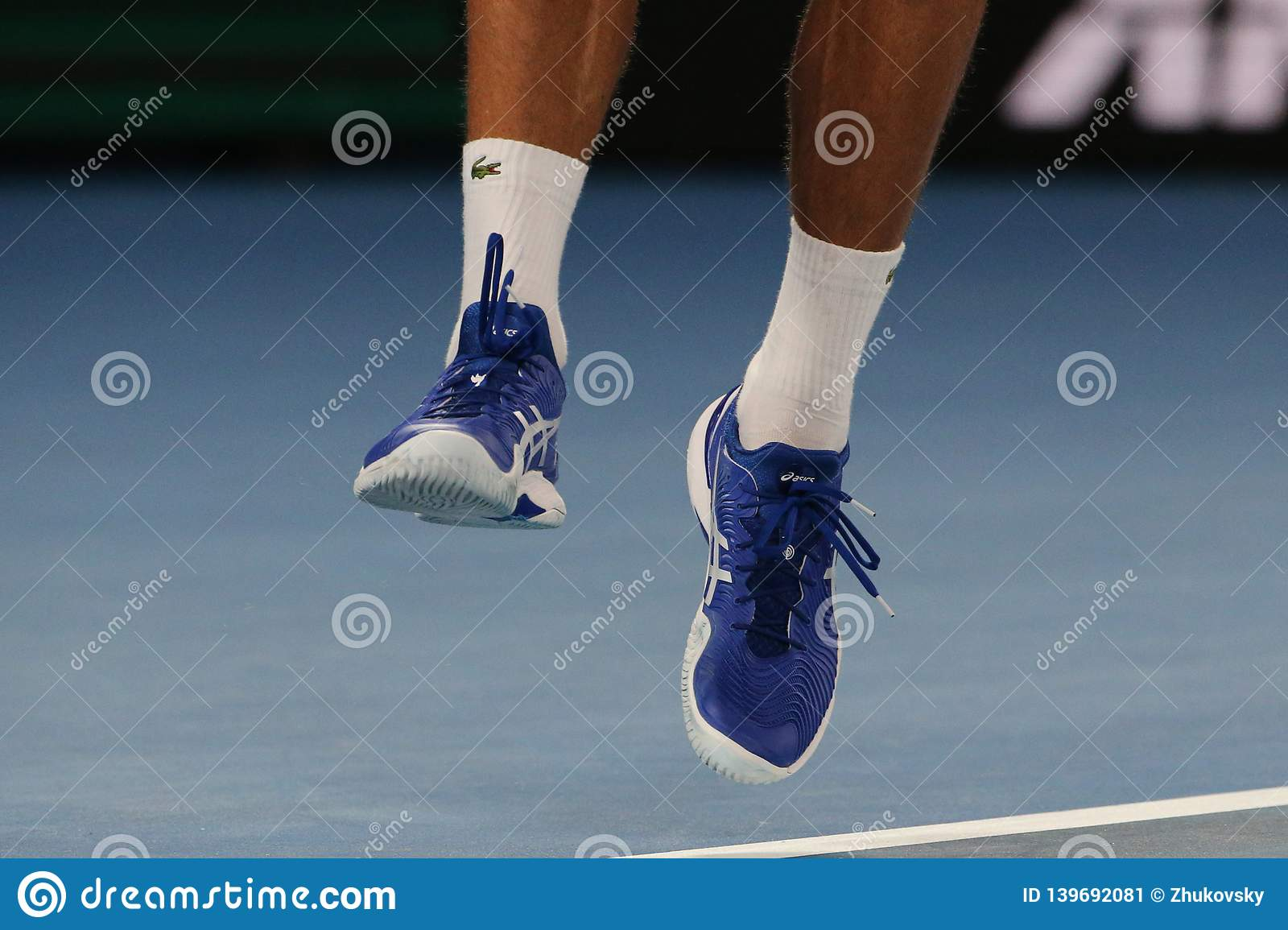 Grand Slam Champion Novak Djokovic Of Serbia Wears Custom Asis Tennis Shoes During His Final Match At 2019 Australian Open Editorial Photo Image Of Professional Athlete 139692081