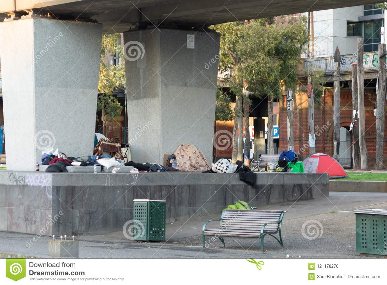 Melbourne, Australia - July 6th 2018: Homeless Camp Below Flinders Street Train Line