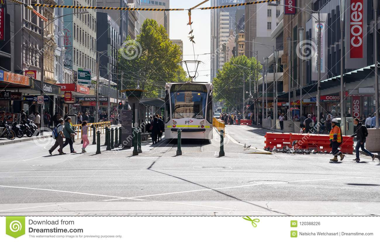 Melbourne City Circle Tram service is operating in the central b