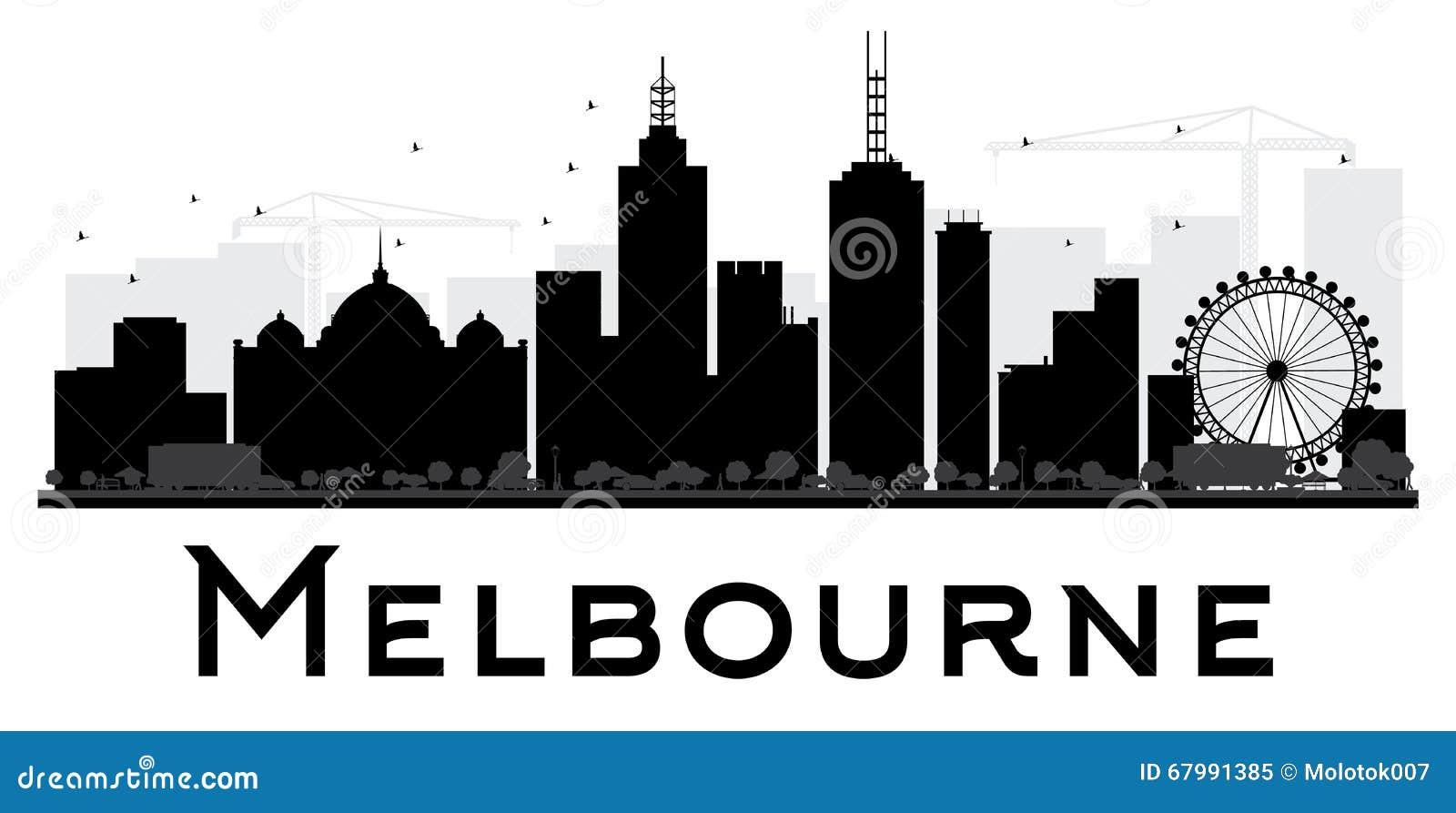 Melbourne City Skyline Black And White Silhouette Stock