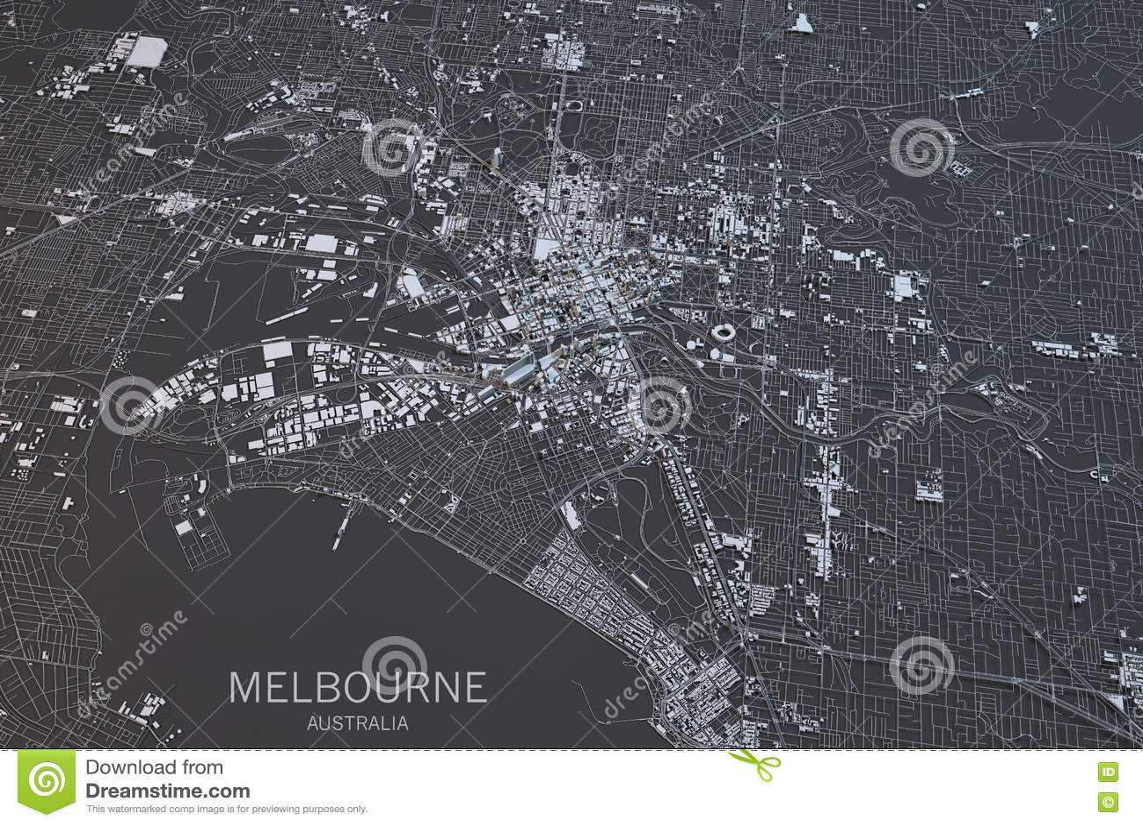 Australia Map Satellite.Melbourne Map Satellite View City Australia Stock Illustration