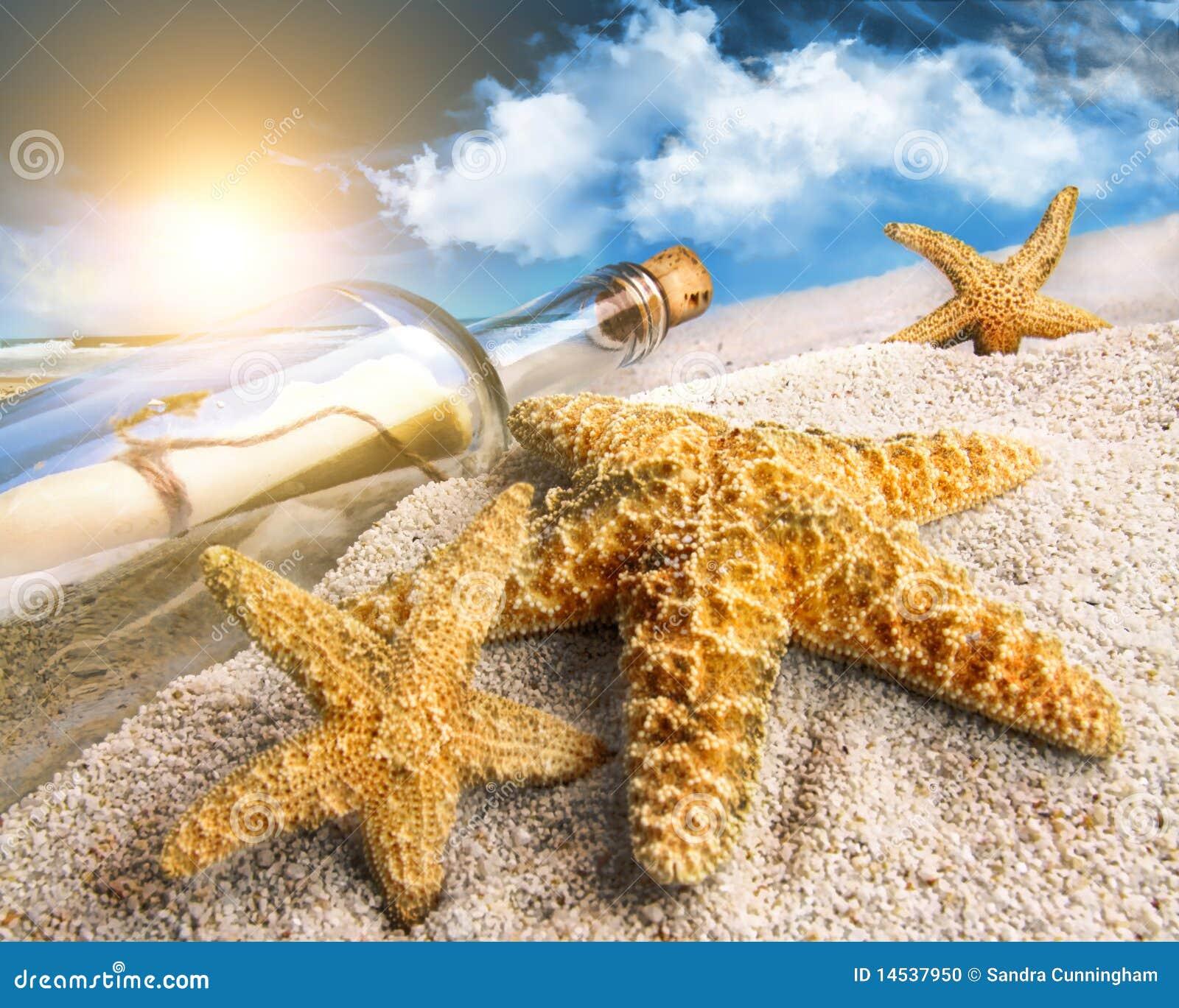 Meldung in einer Flasche begraben im Sand