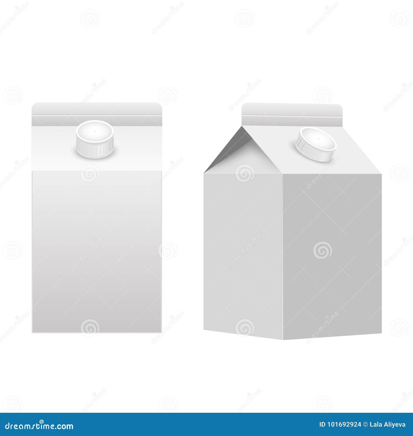 Melk of sap geïsoleerde de doos witte spatie van het karton verpakkende pakket Vector