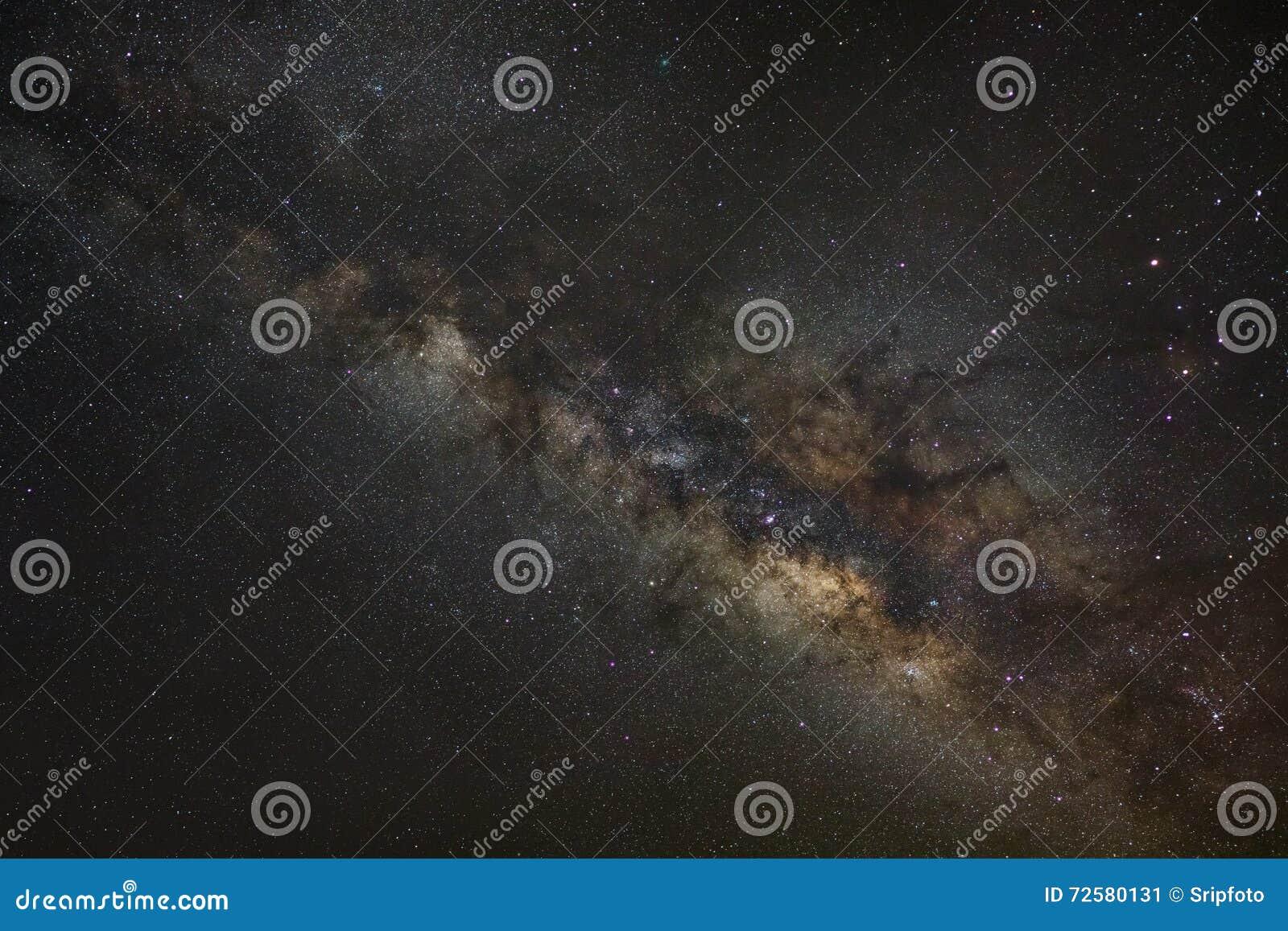 Melkachtige maniermelkweg, Lange blootstellingsfoto, met korrel