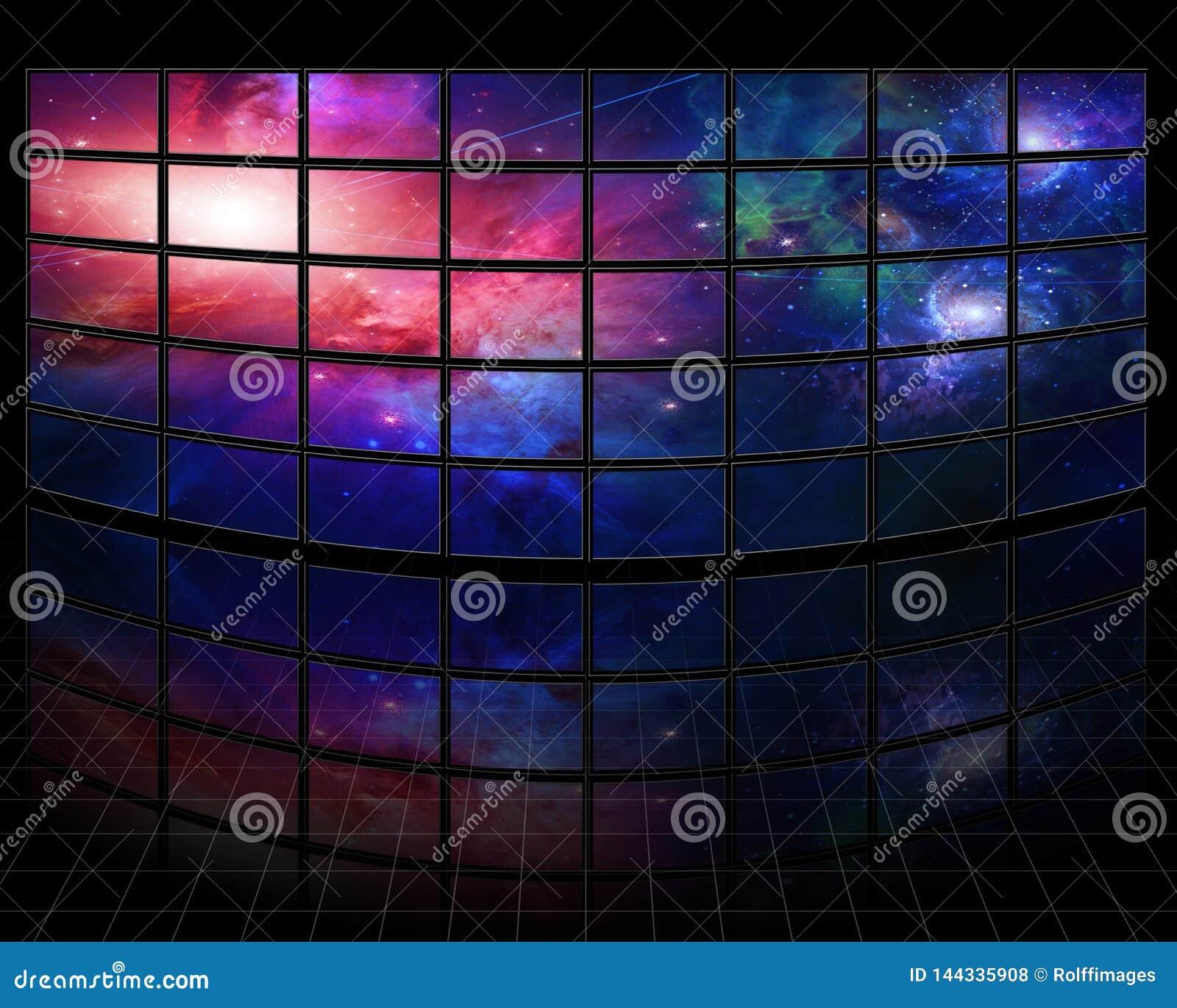 Melkwegen en sterren op de schermen
