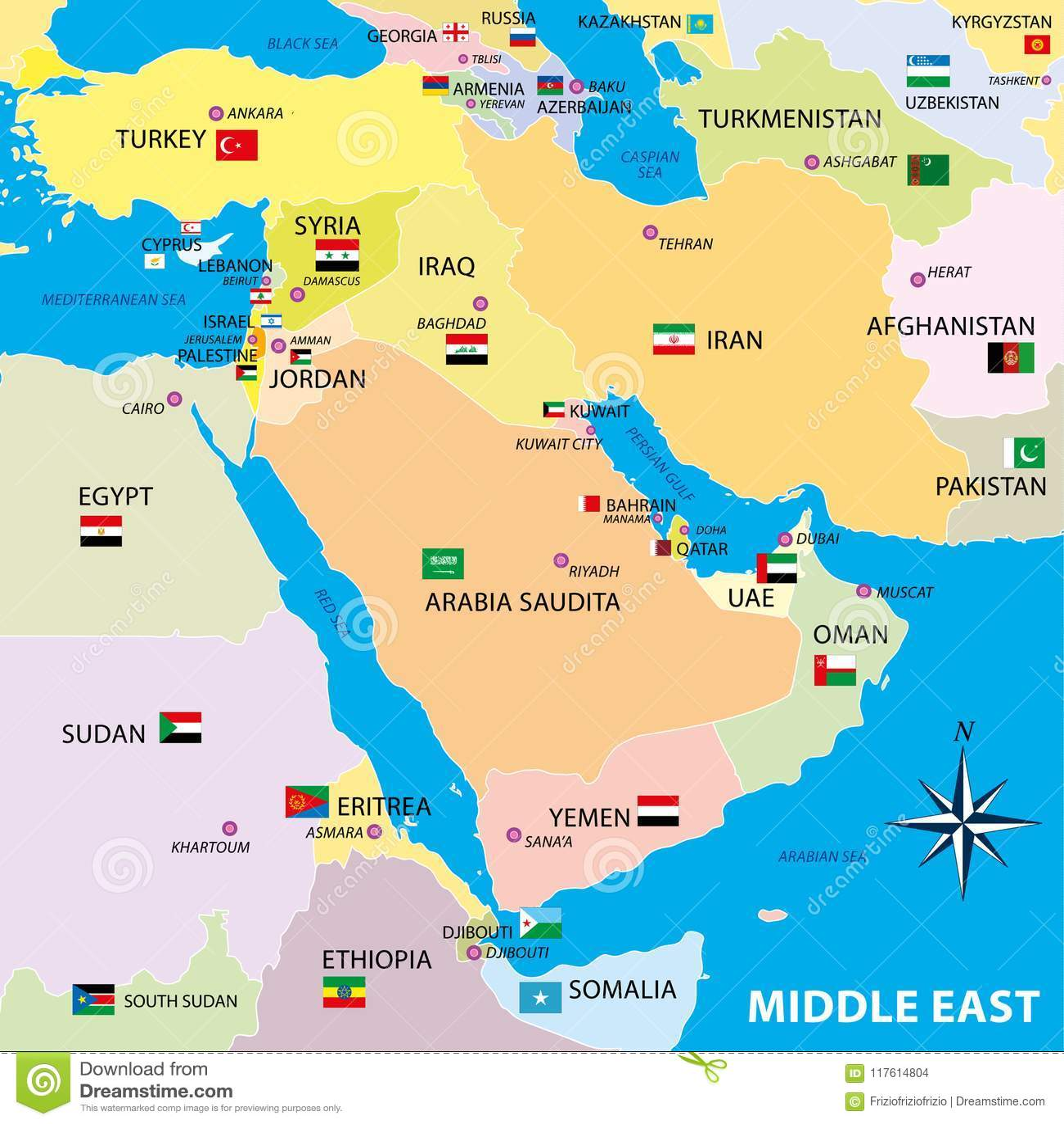 Mellersta östlig översikt med gränser och flaggor