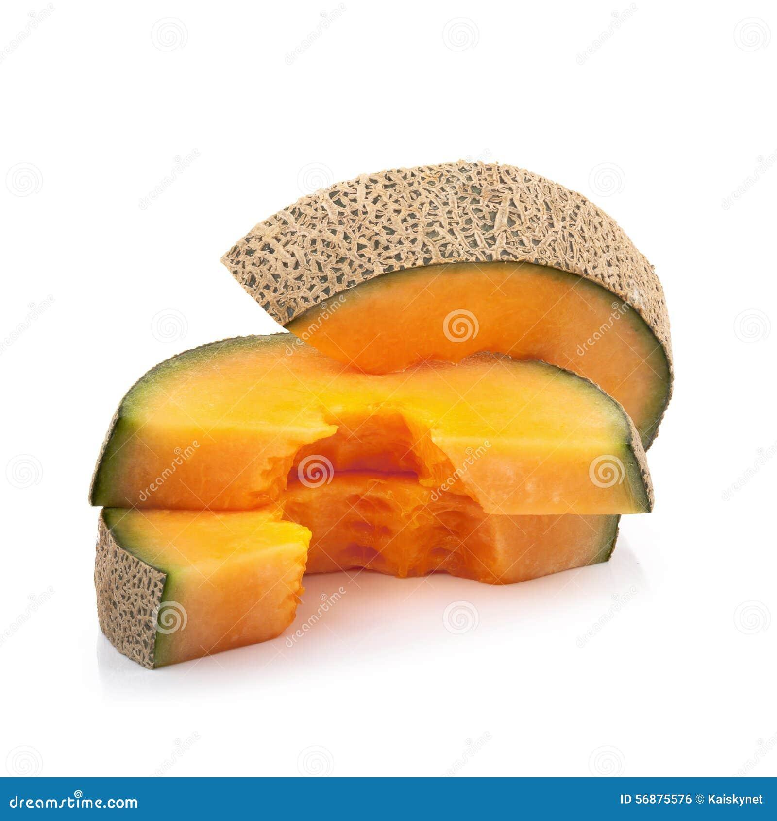 Meloen op witte achtergrond wordt geïsoleerd die