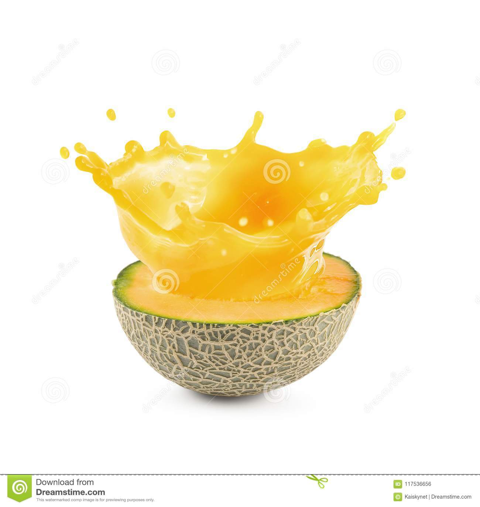 Meloensap of Kantaloepsap op een witte achtergrond wordt geïsoleerd die