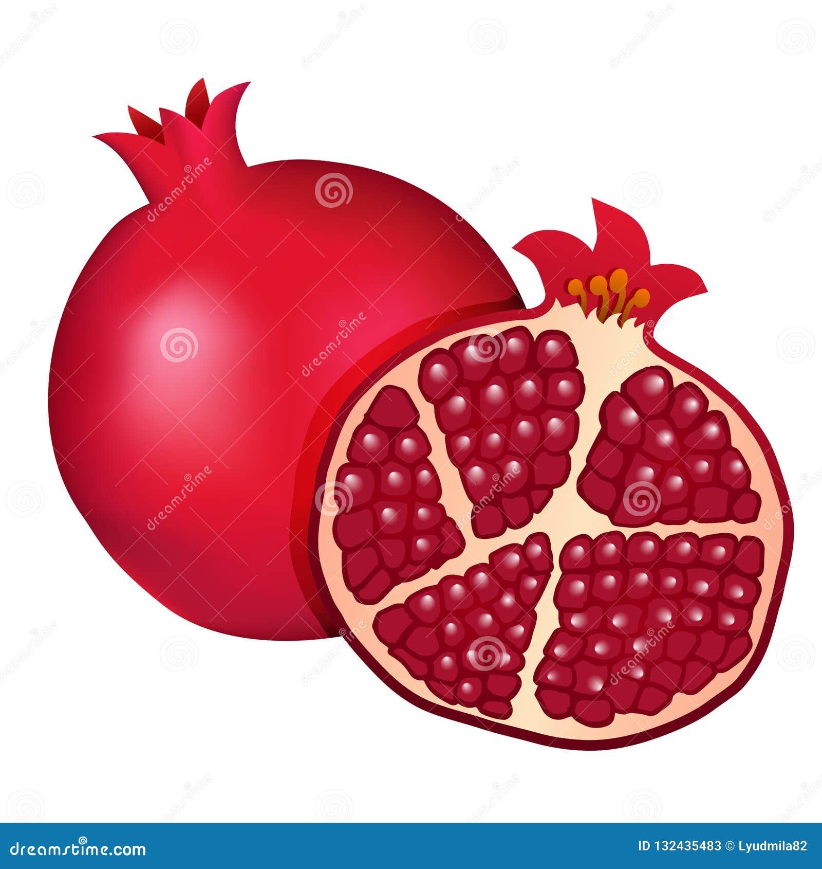 Melograno rosso di Borgogna e metà del melograno isolati sul whi