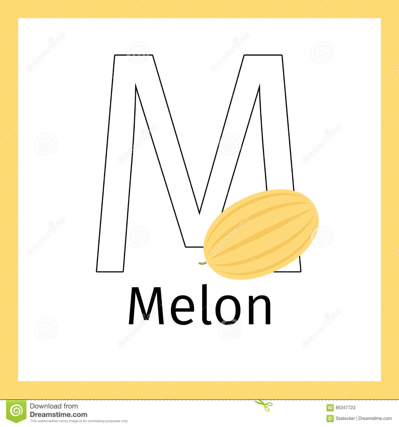 melon and letter m coloring page stock vector image 85347723