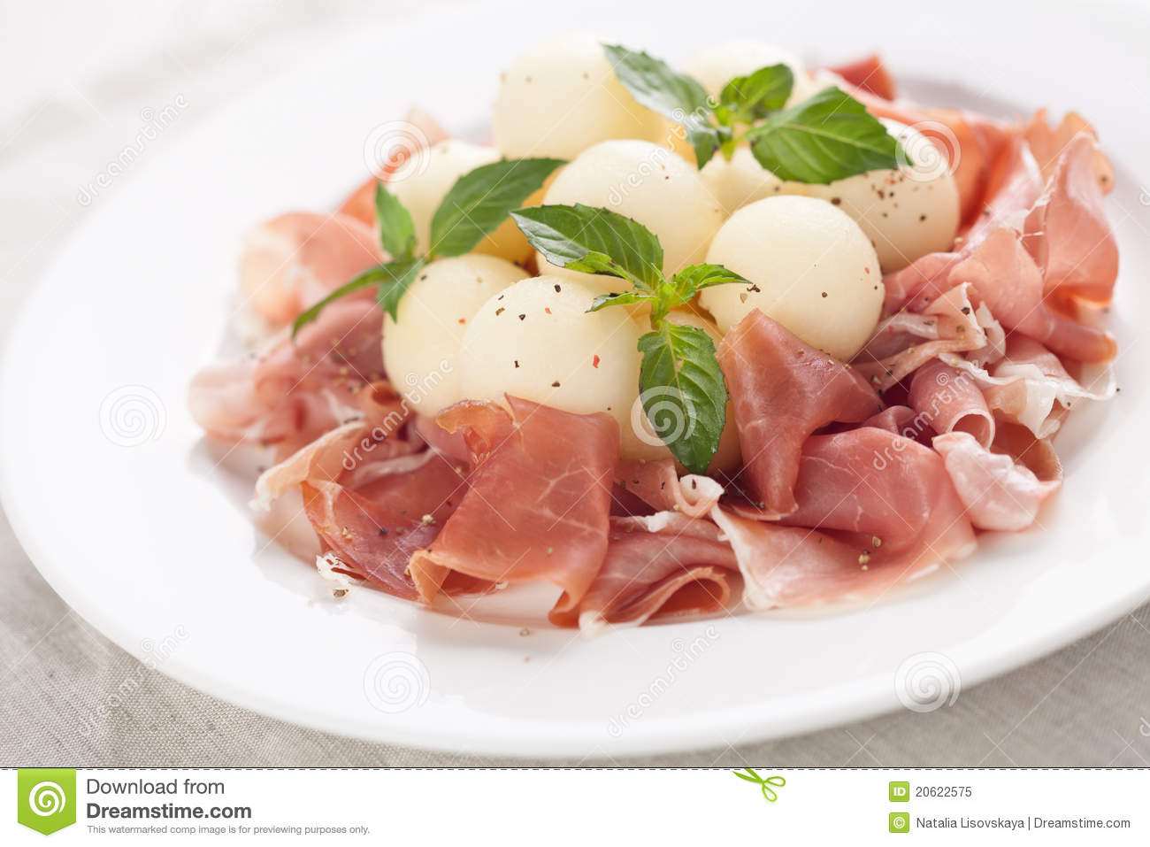 Melon With Parma Ham Royalty Free Stock Photo - Image: 20622575