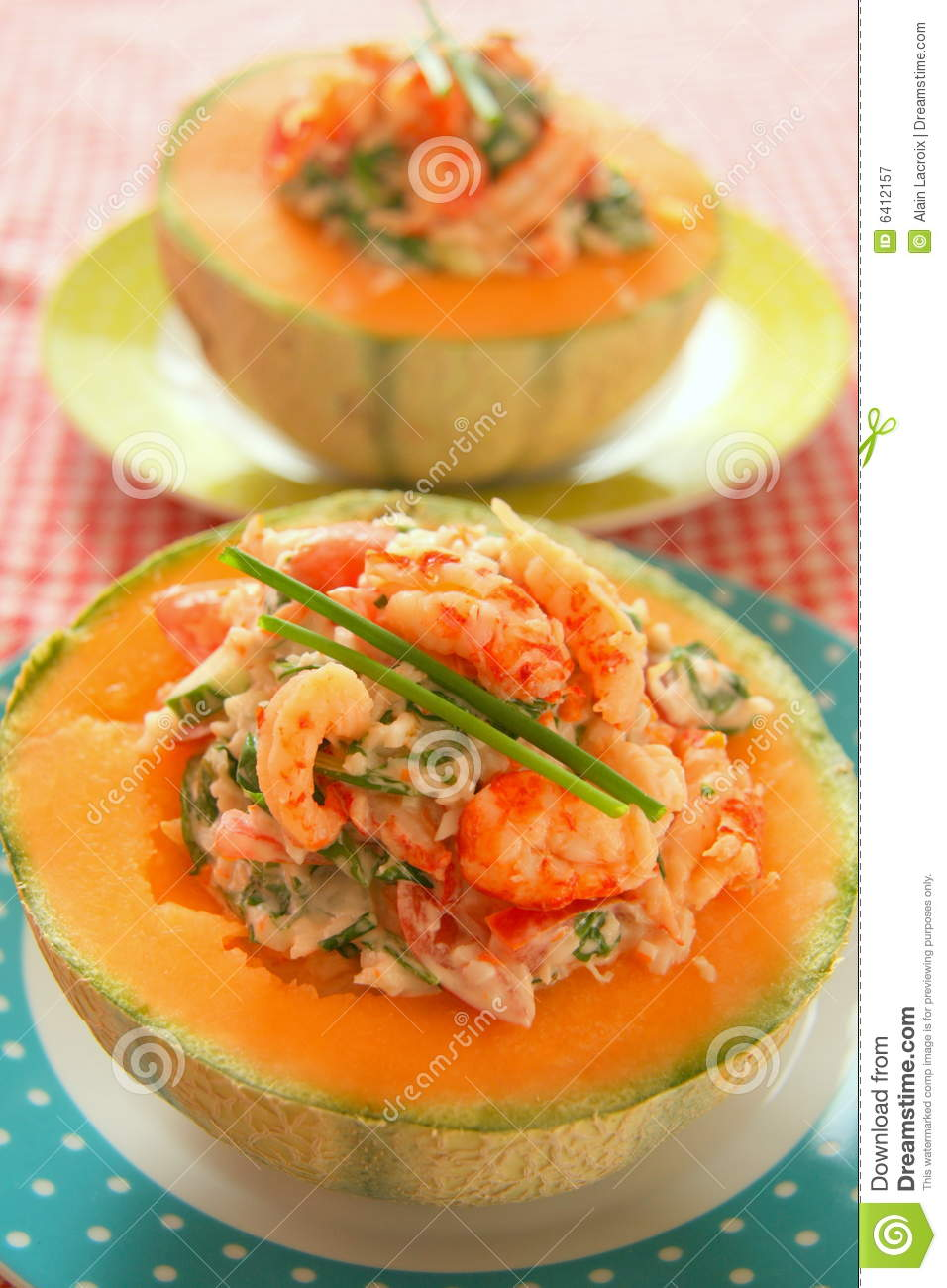 Melon with seafood