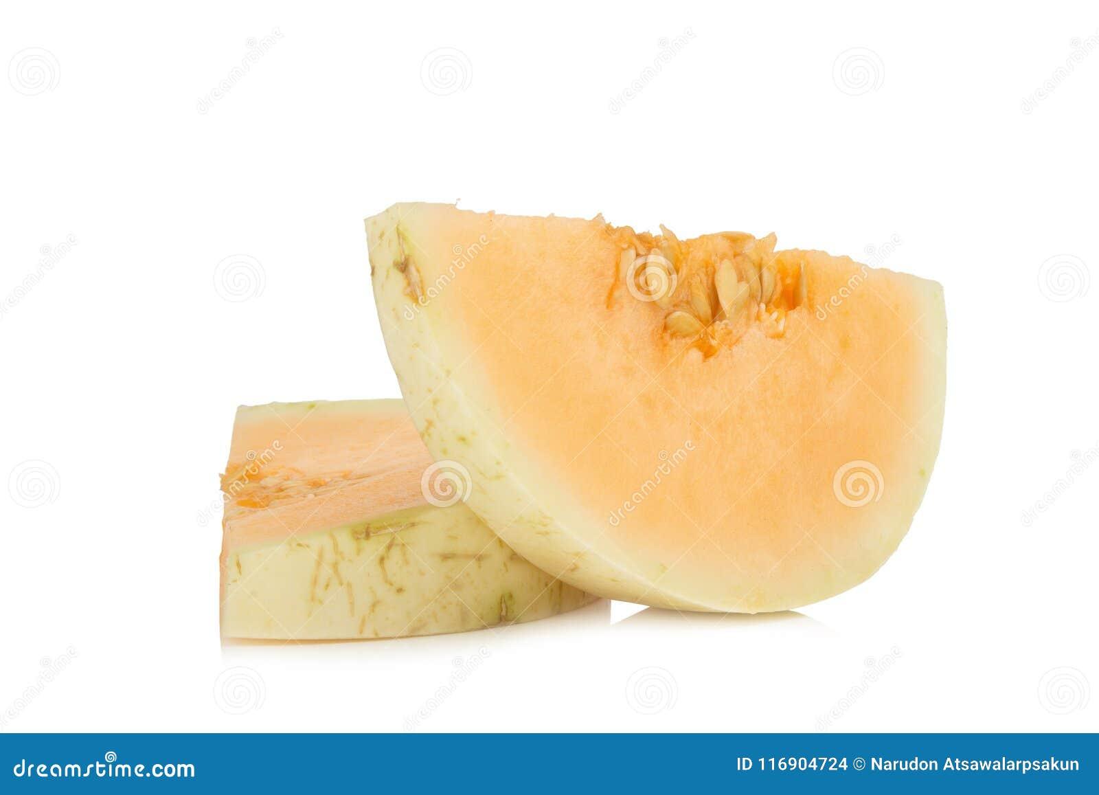 Melon( sunlady) кусок половинно белизна изолированная предпосылкой