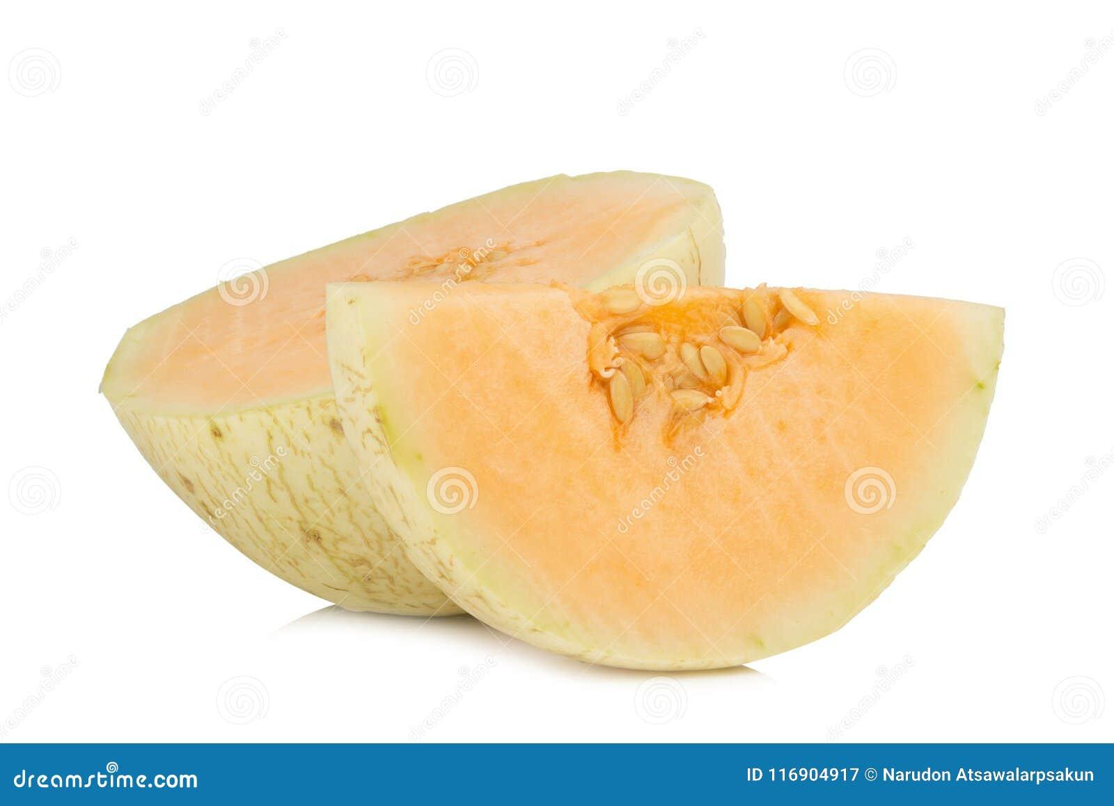 Melon& x28; sunlady& x29; fatia meio Isolado no fundo branco