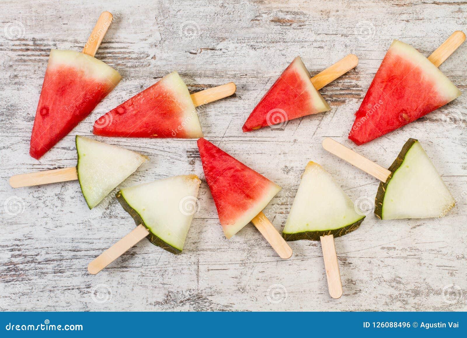 Melon And Watermelon Cut Into Triangles Stock Photo Image