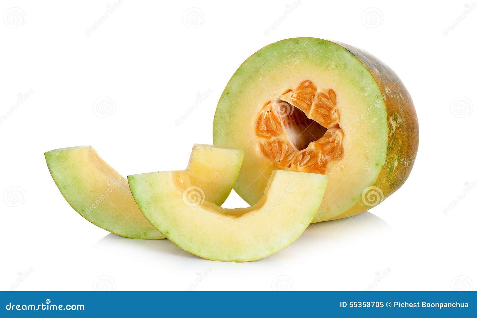 Melone tailandese del cantalupo isolato sui precedenti bianchi
