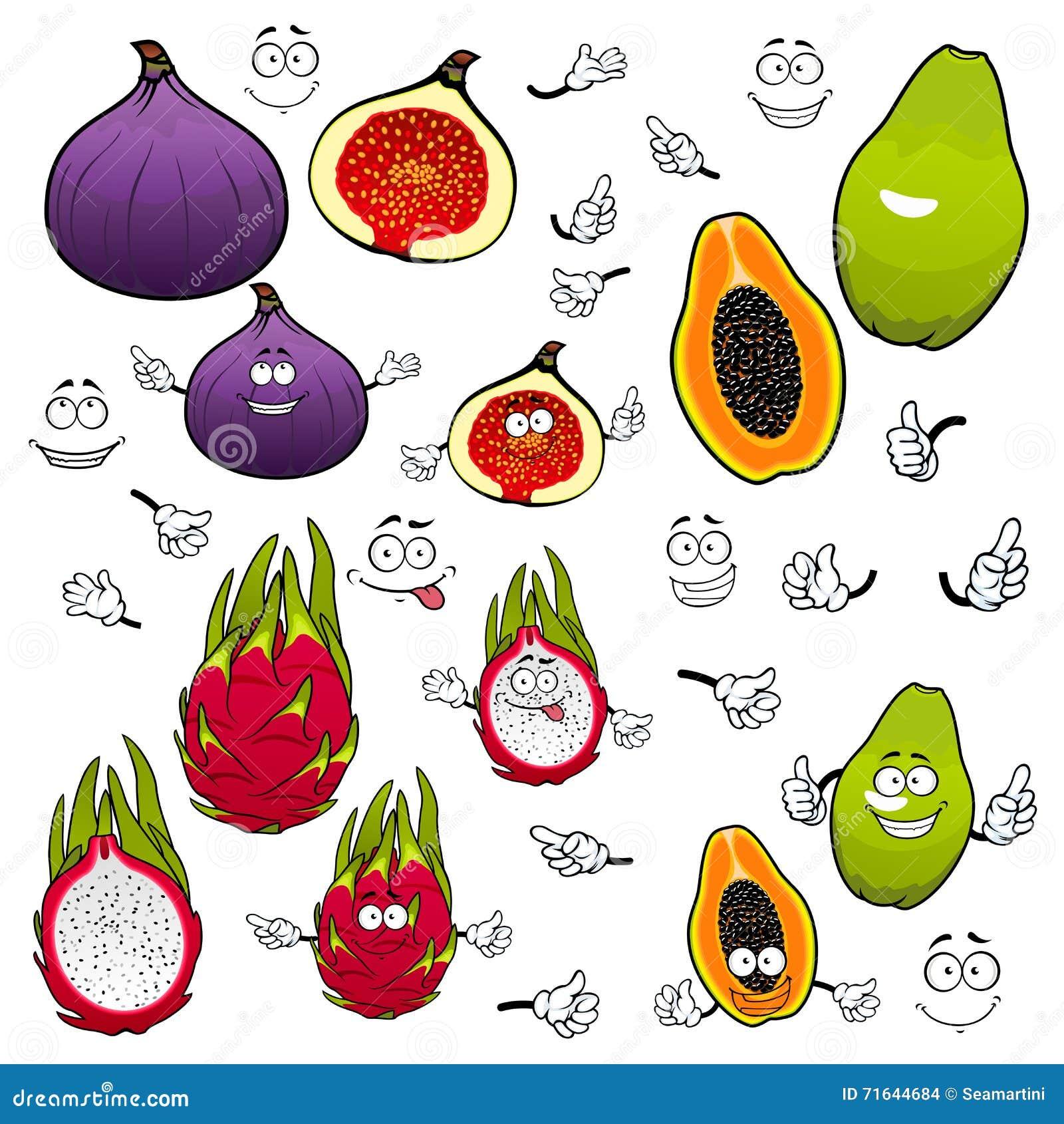 Melonowiec, dragonfruit, fig owoc postać z kreskówki