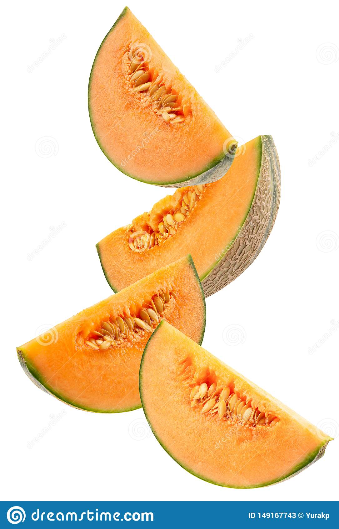 Melonskivor som isoleras p? en vit bakgrund