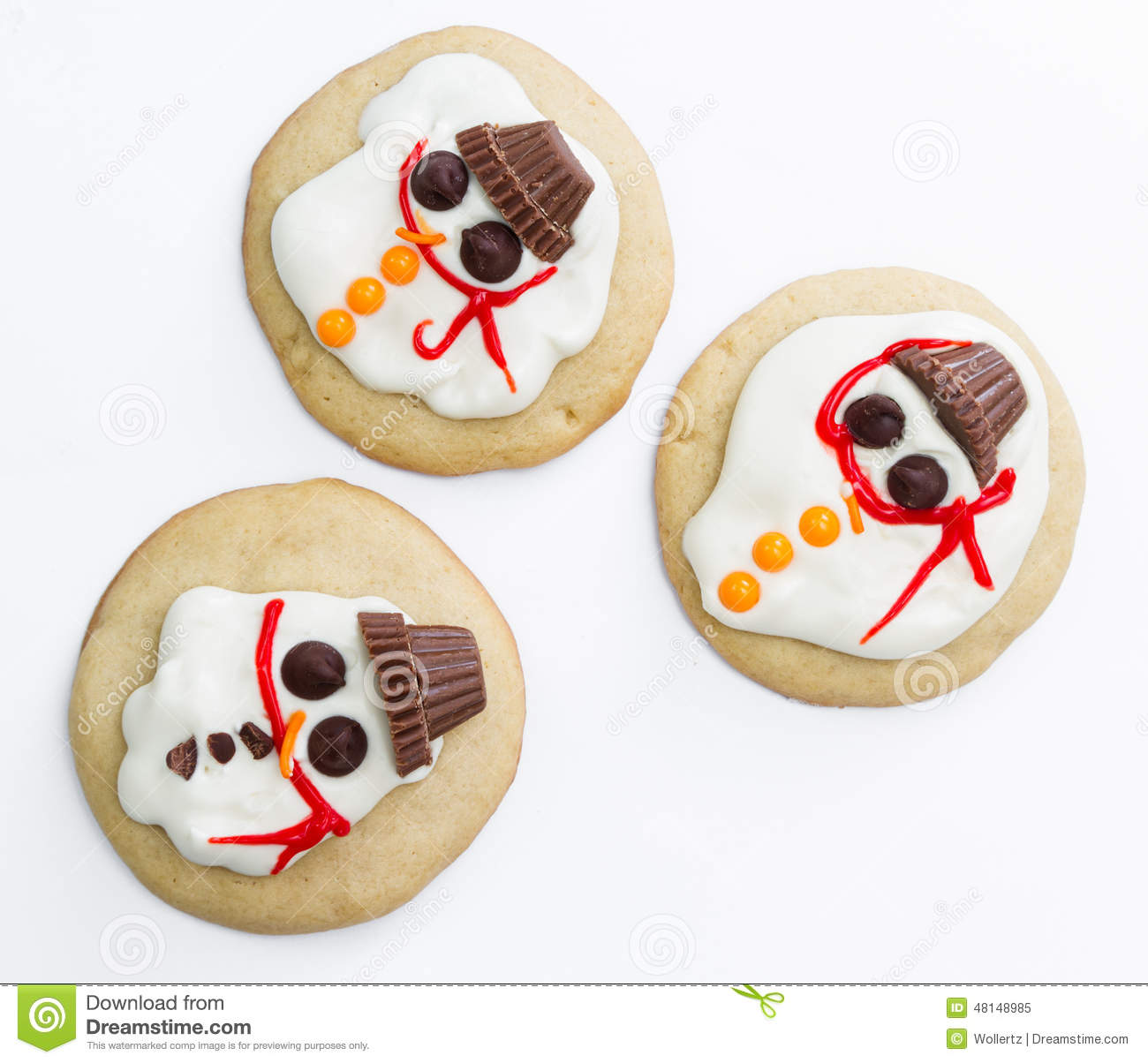 Melted Snowman Cookie Stock Image Image Of Fresh Decoration 48148985