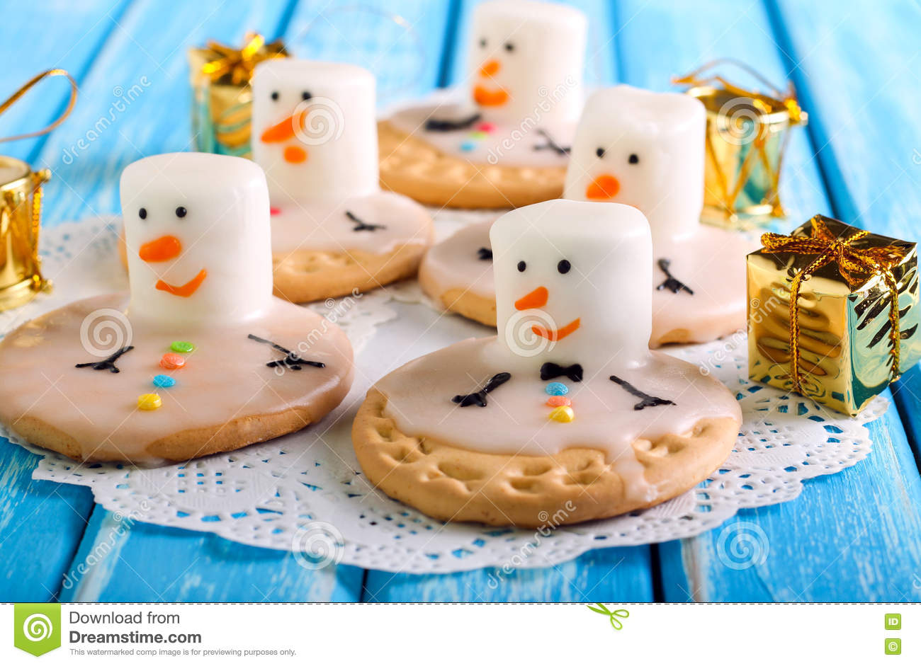 Melted Snowman Cookies Stock Photo Image Of Holiday 75699372