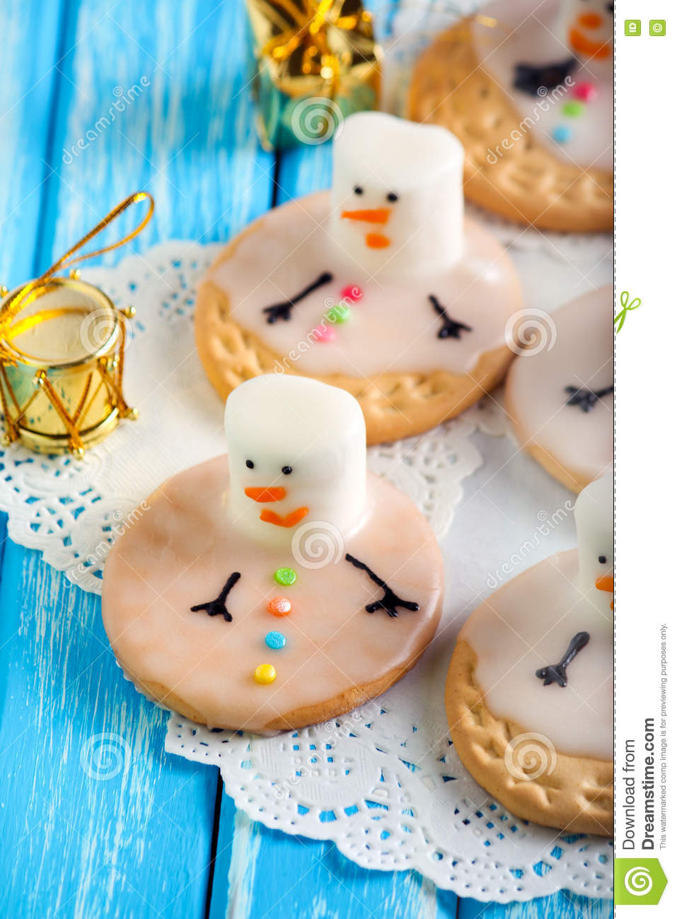 Melted Snowman Cookies Stock Photo Image Of Sweet Mini 77348312
