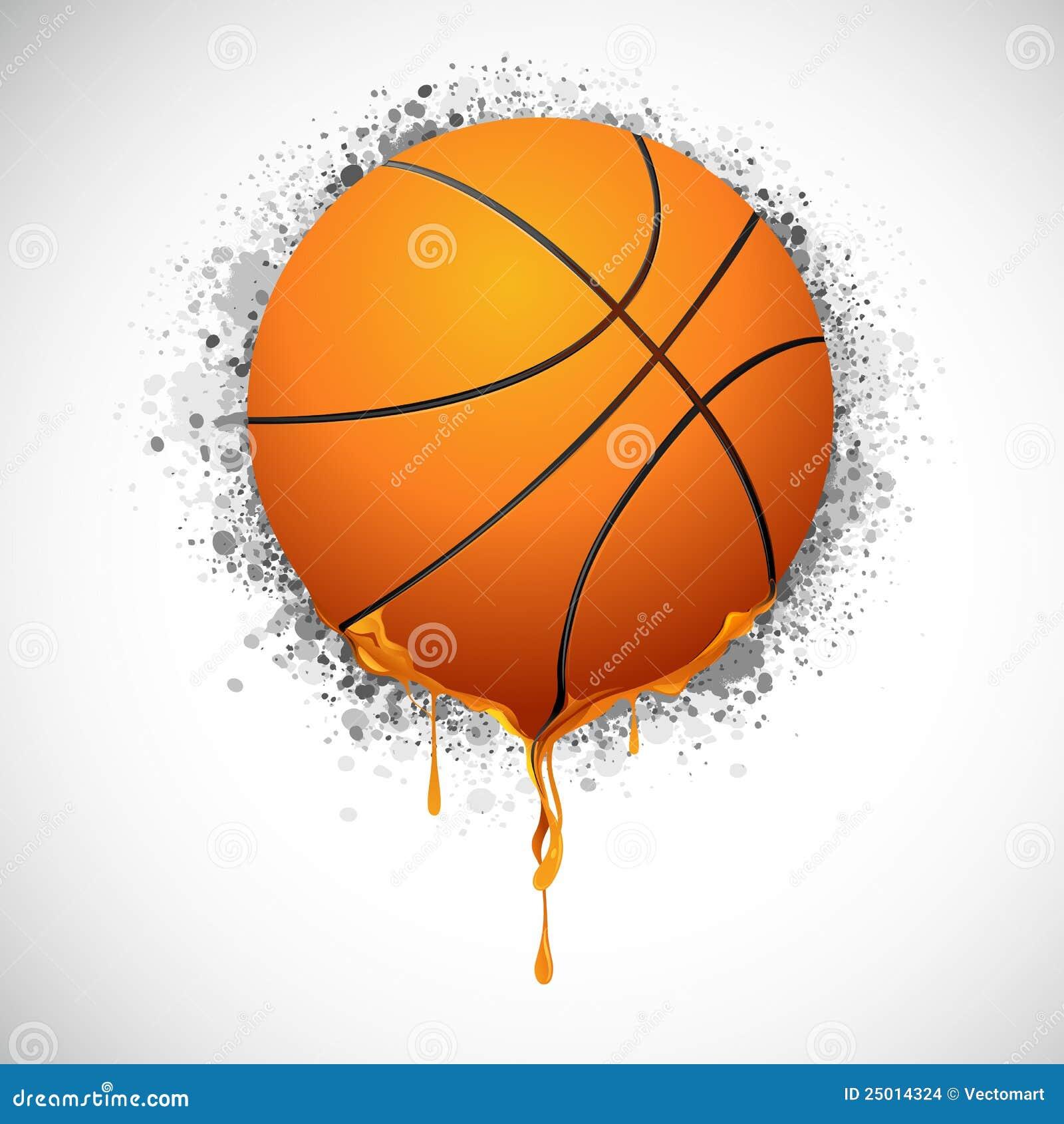 Illustration of melting basket ball on grungy background.