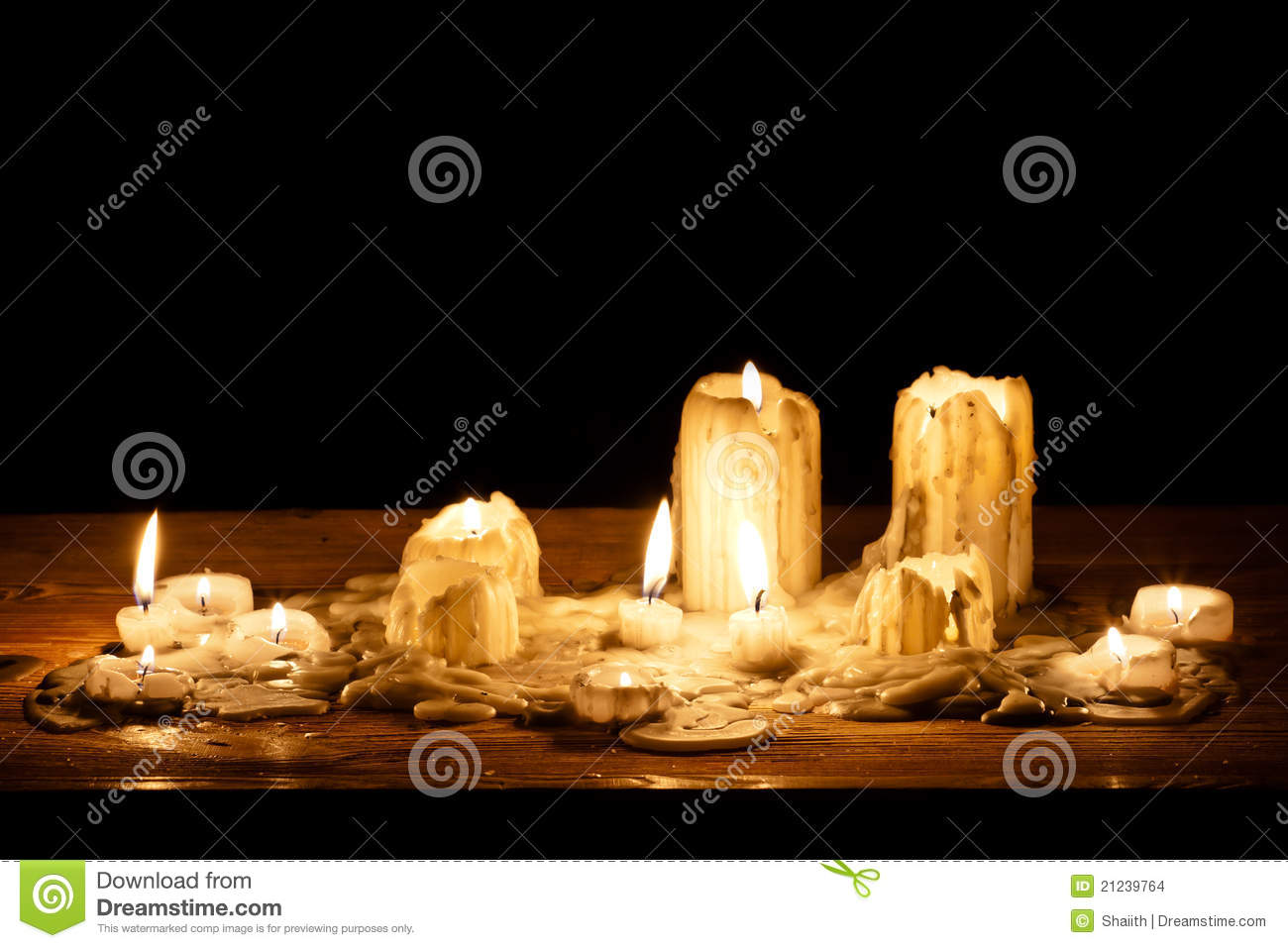 Melting Candle In Wooden Shelf Stock Images - Image: 21239764