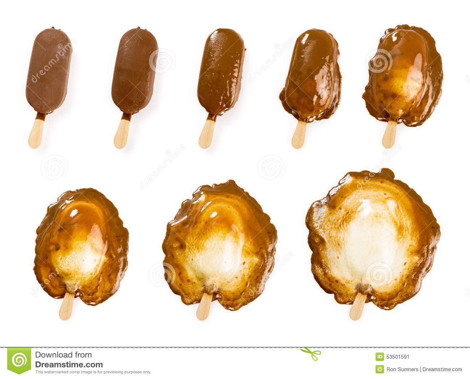 Melting Chocolate And Vanilla Ice Cream Stick Stock Photo ...