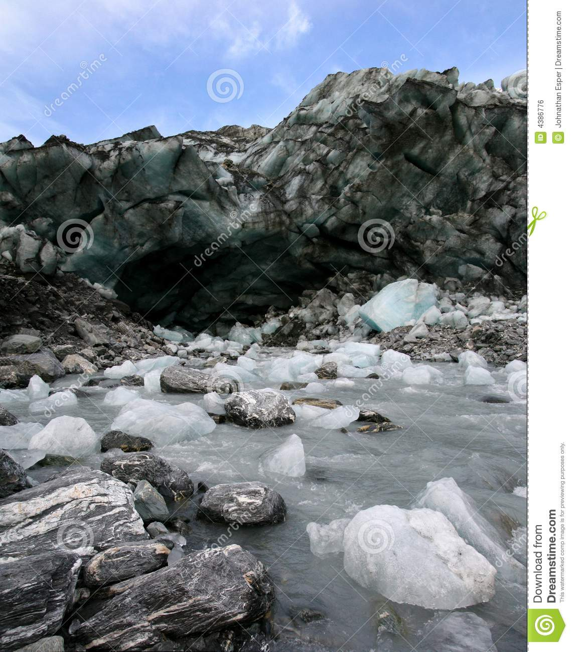 Melting ice from a low-elevation glacier