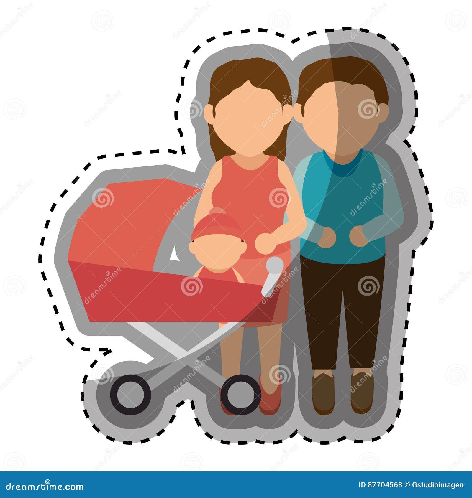 Membres de la famille heureux avec le bébé