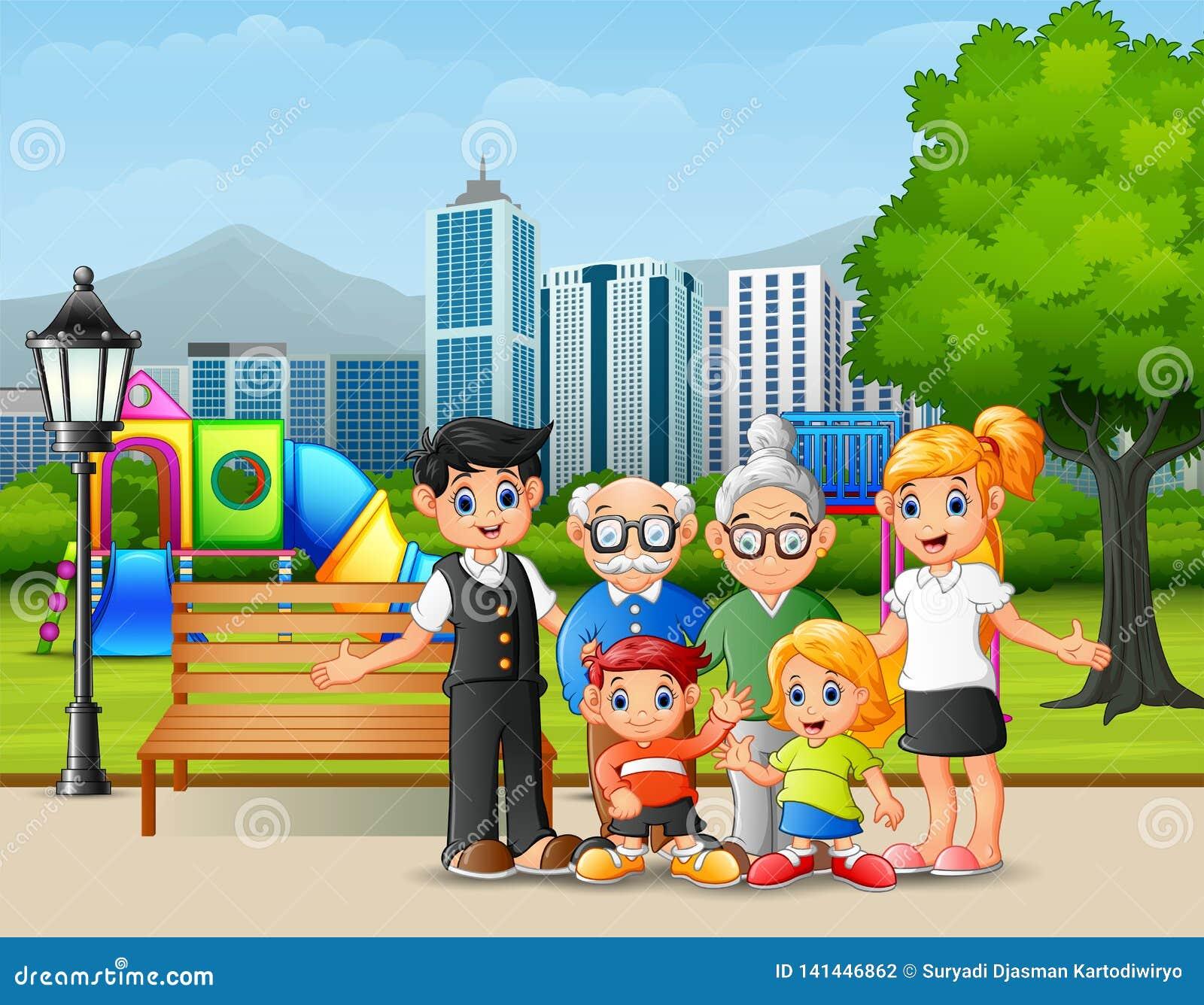 Membres de la famille heureux en parc de ville