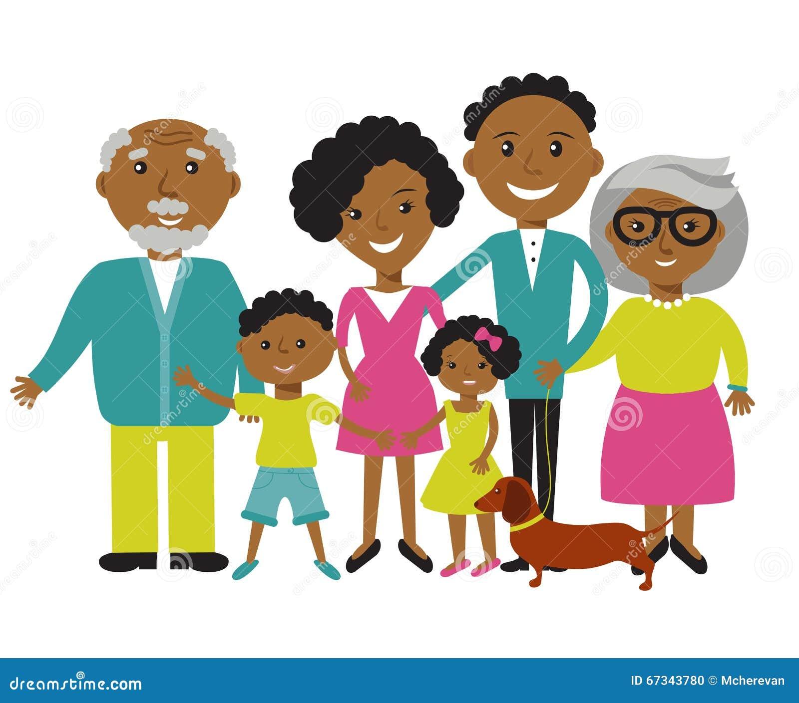 Membri afroamericani felici di famiglia quattro
