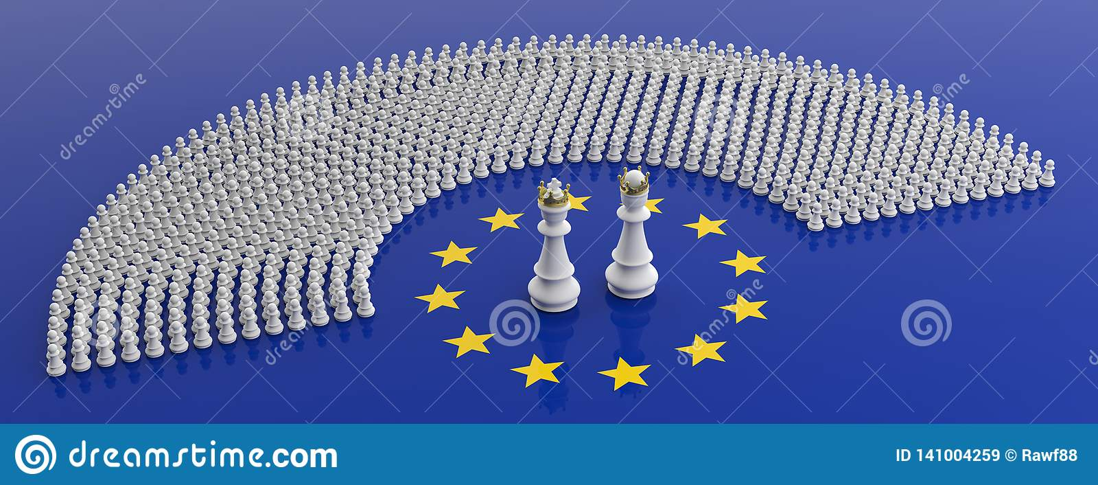 Membri del Parlamento Europeo come i pegni e bandiera di re di scacchi e di Unione Europea del queenon illustrazione 3D