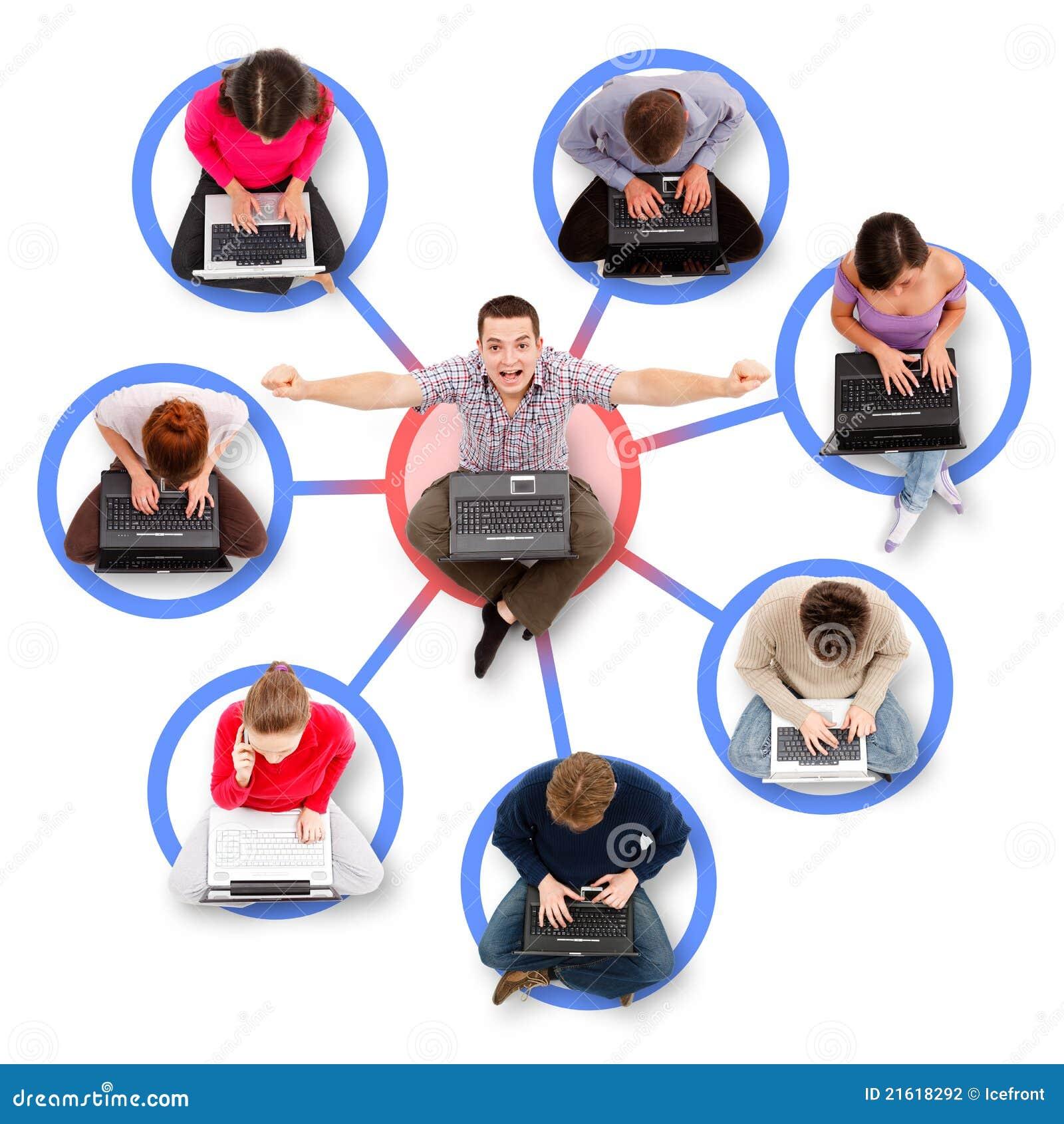 Membros sociais da rede em torno de um homem bem sucedido