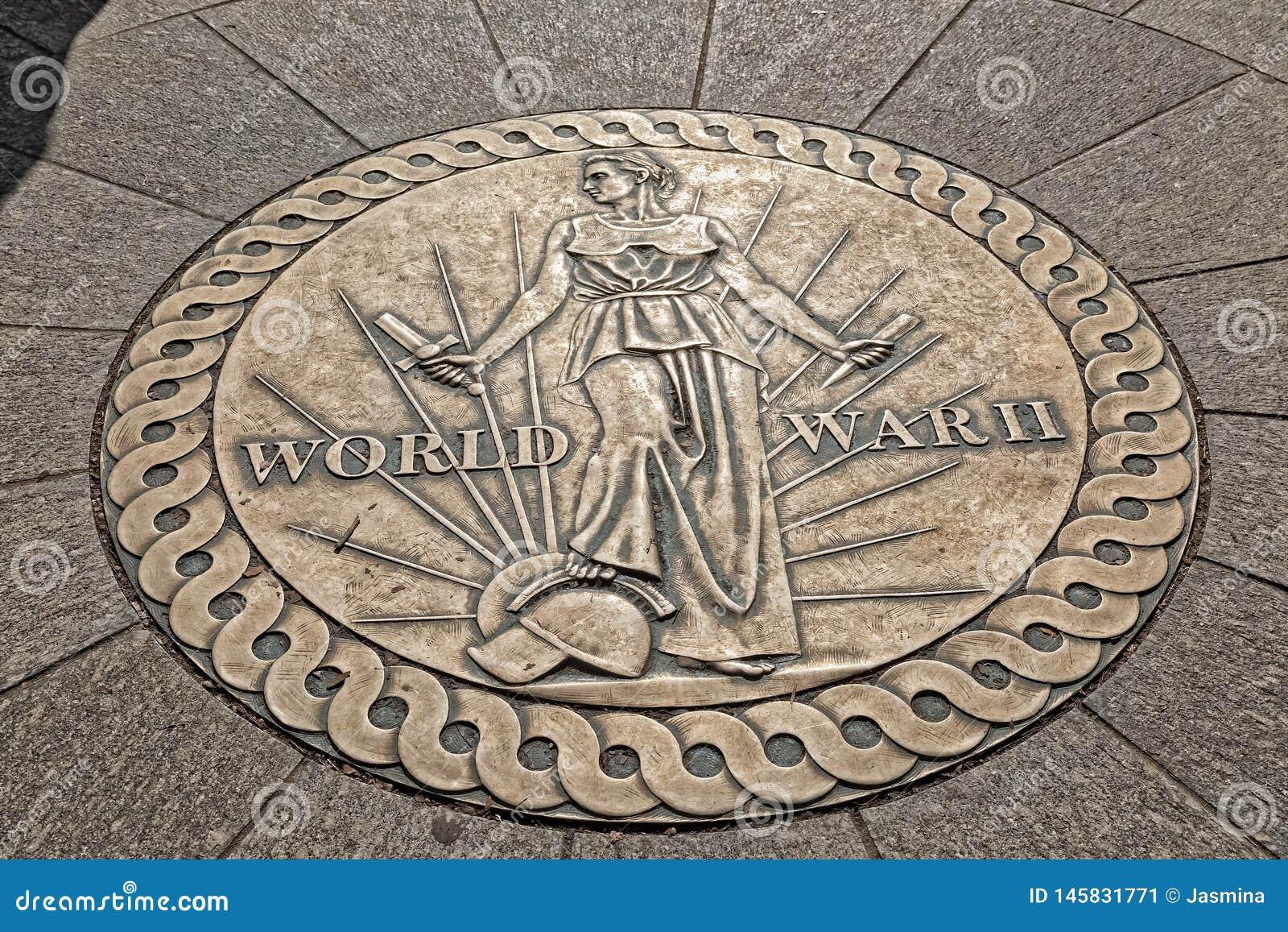 Memorial da segunda guerra mundial do projeto de Victory Medal no Washington DC