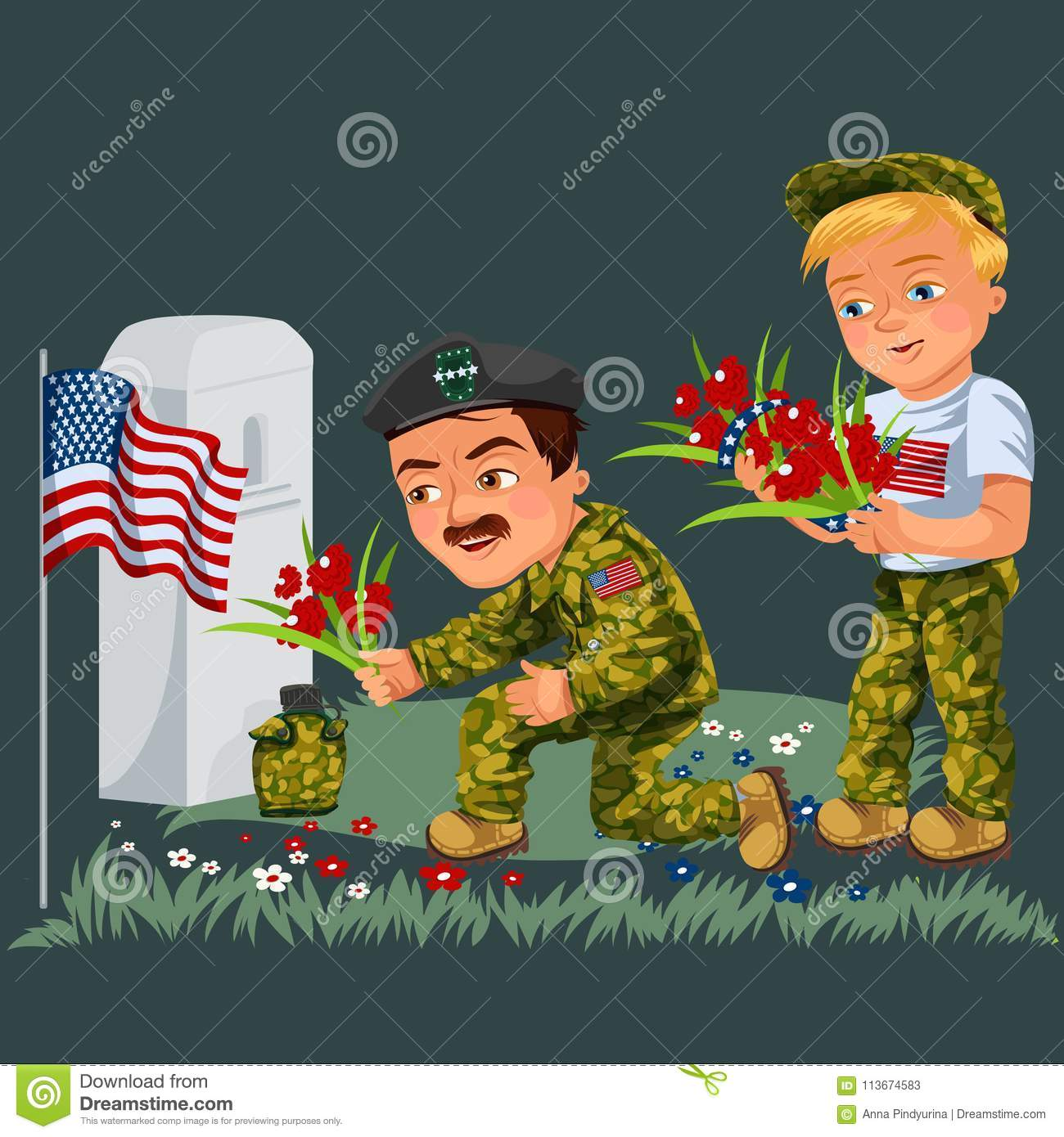 Memorial day background, American veterans lay flowers to white tombstone of monument with us flag, soldiers in uniform