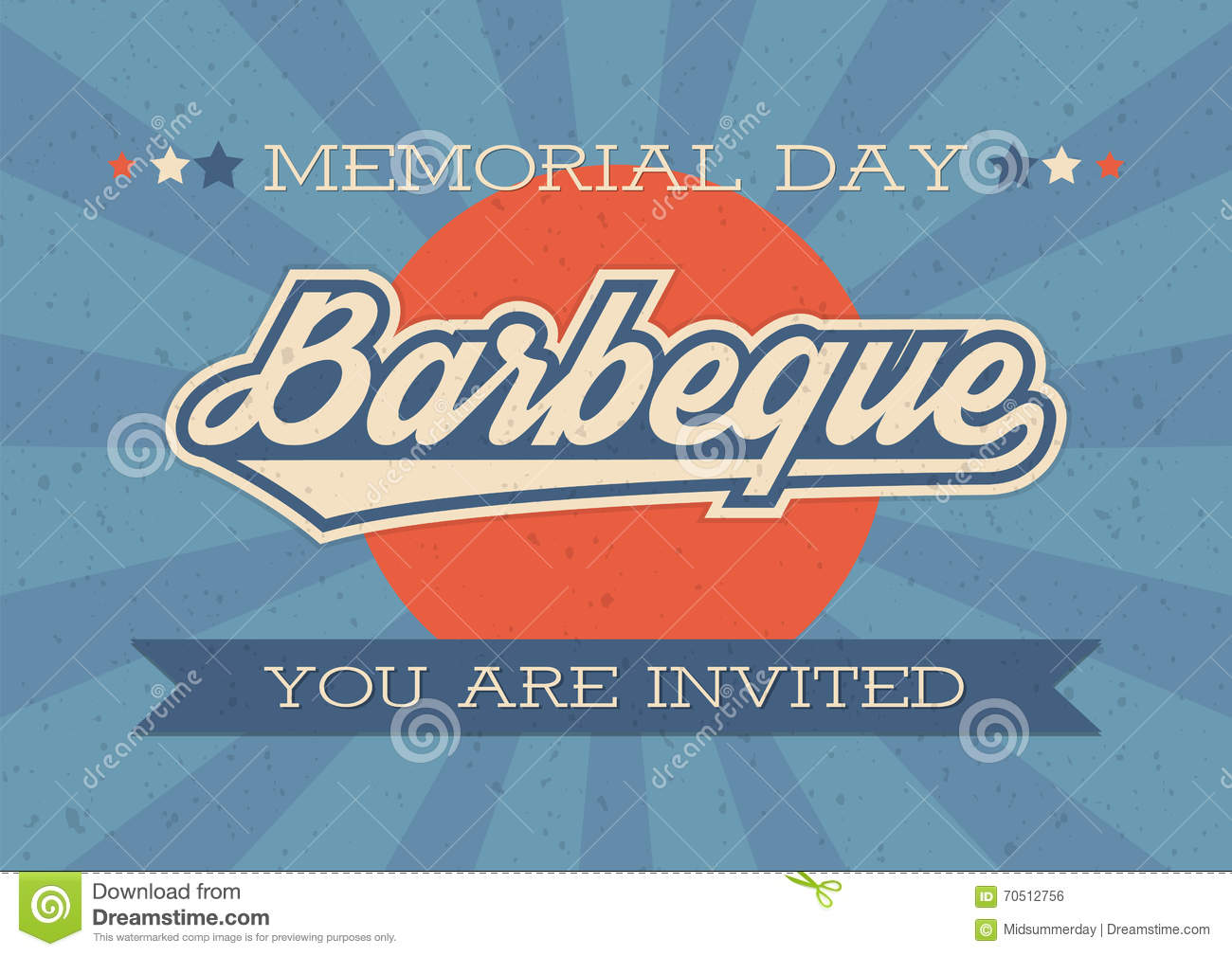 memorial day background vector illustration with text and ribbon