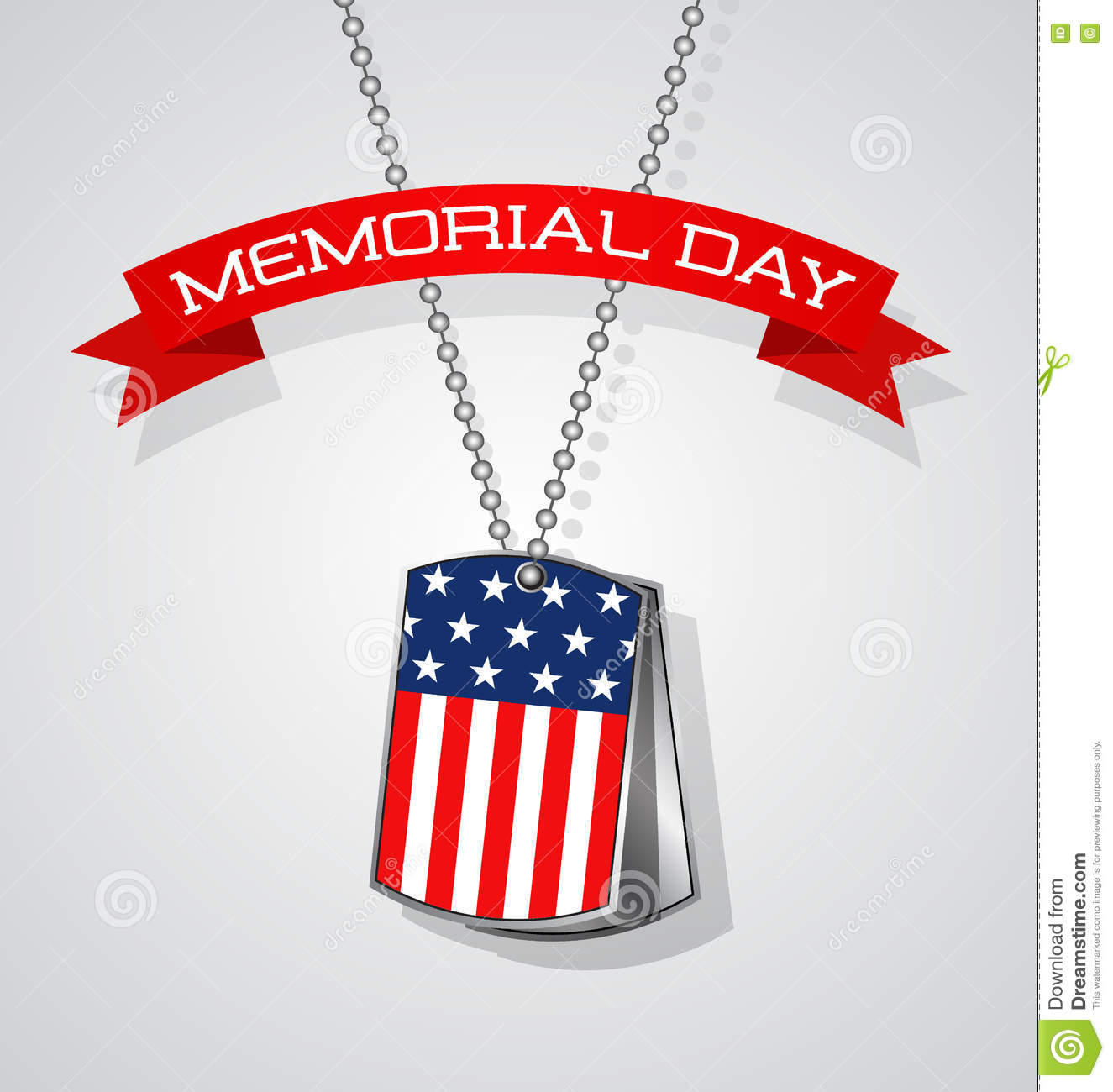 memorial day banner with american flag and soldier on it stock